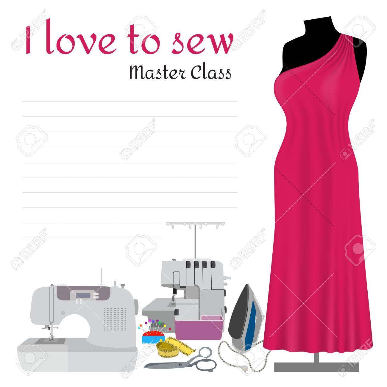 Nähen Master Class-Einladung. Collection-Elemente Für Die ...