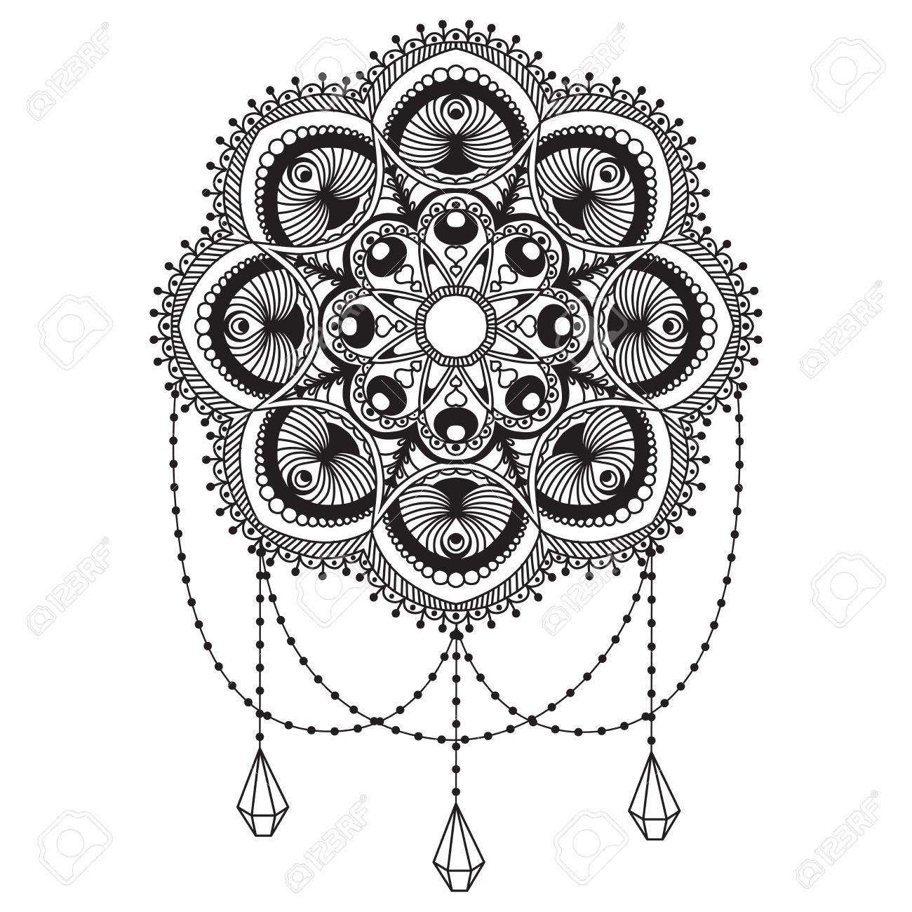 Hand Drawn Native Indian Mandala Decorated With Pendants And