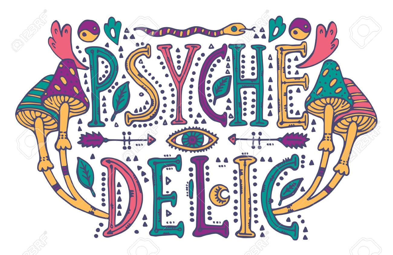 Detailed Ornamental Psychedelic Lettering And Magic Mushrooms In Retro 60s StyleIsolated On White Background