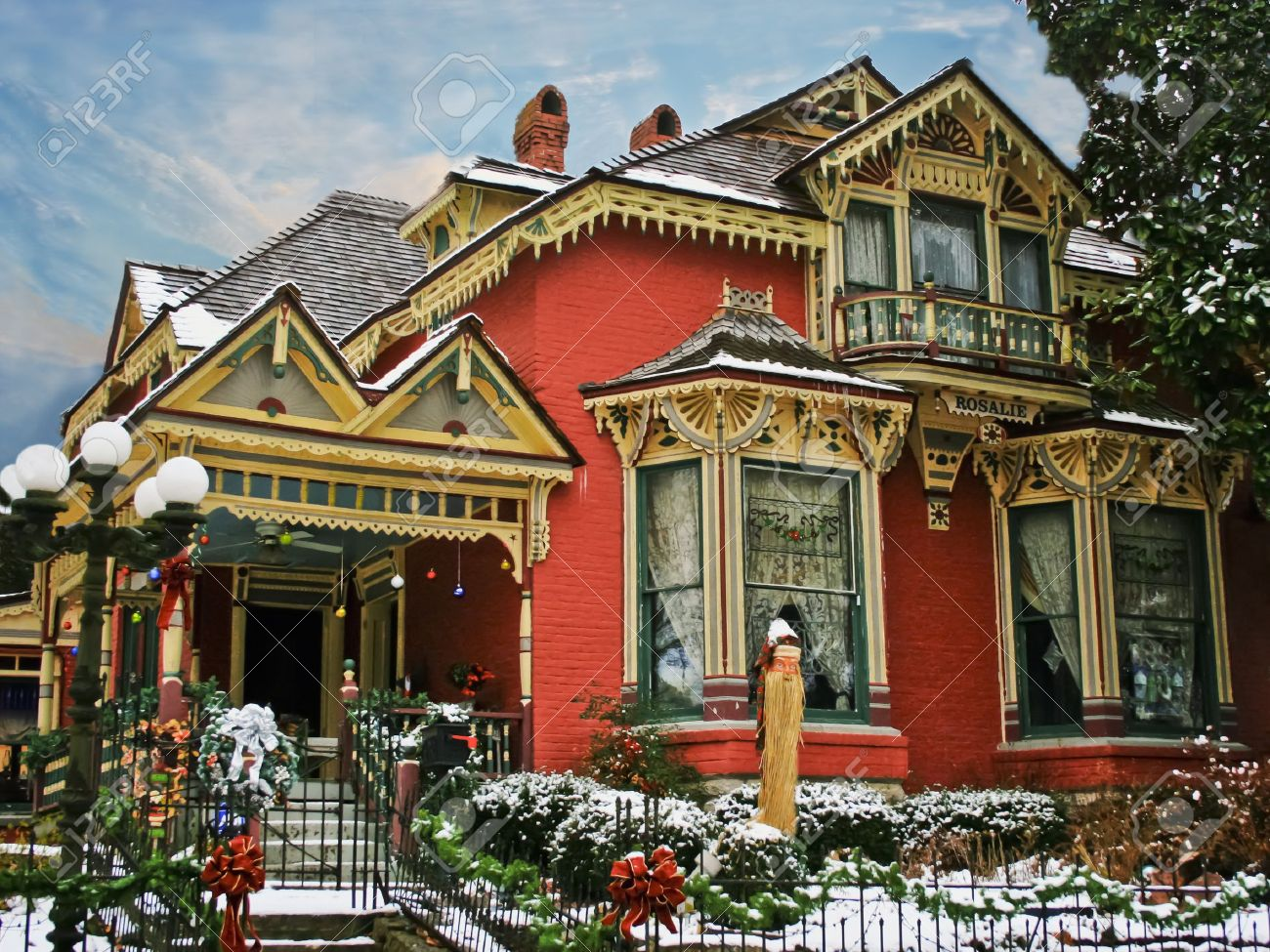 Holiday Decorated Victorian House With Snow Stock Photo, Picture ...