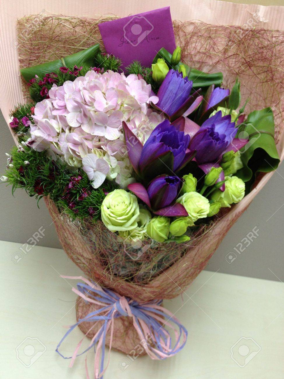 Special pink and purple flower bouquet with lotus embroidery special pink and purple flower bouquet with lotus embroidery flowers stock photo 26632751 izmirmasajfo