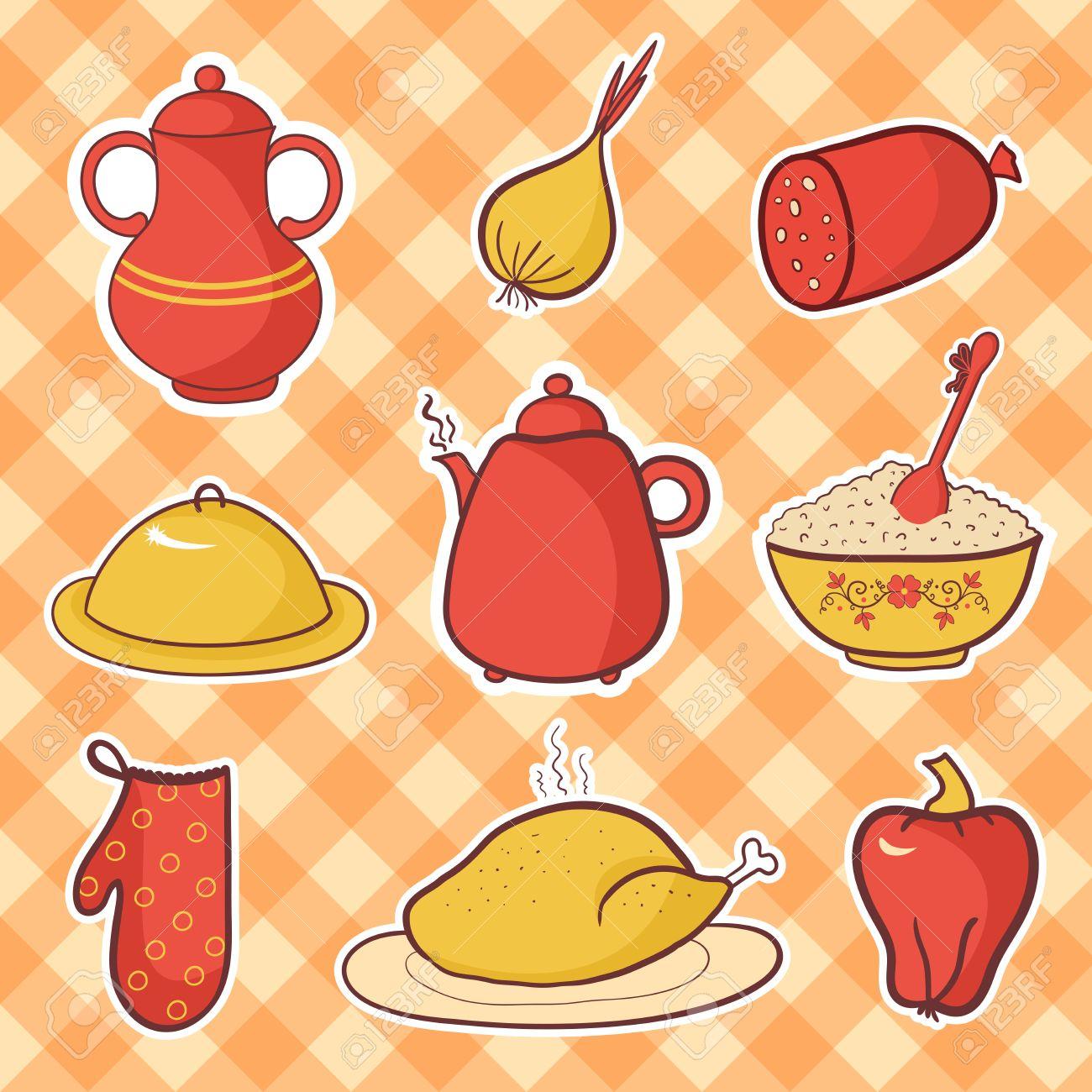 Retro Kitchen Set Food Cartoon Vector Elements Royalty Free