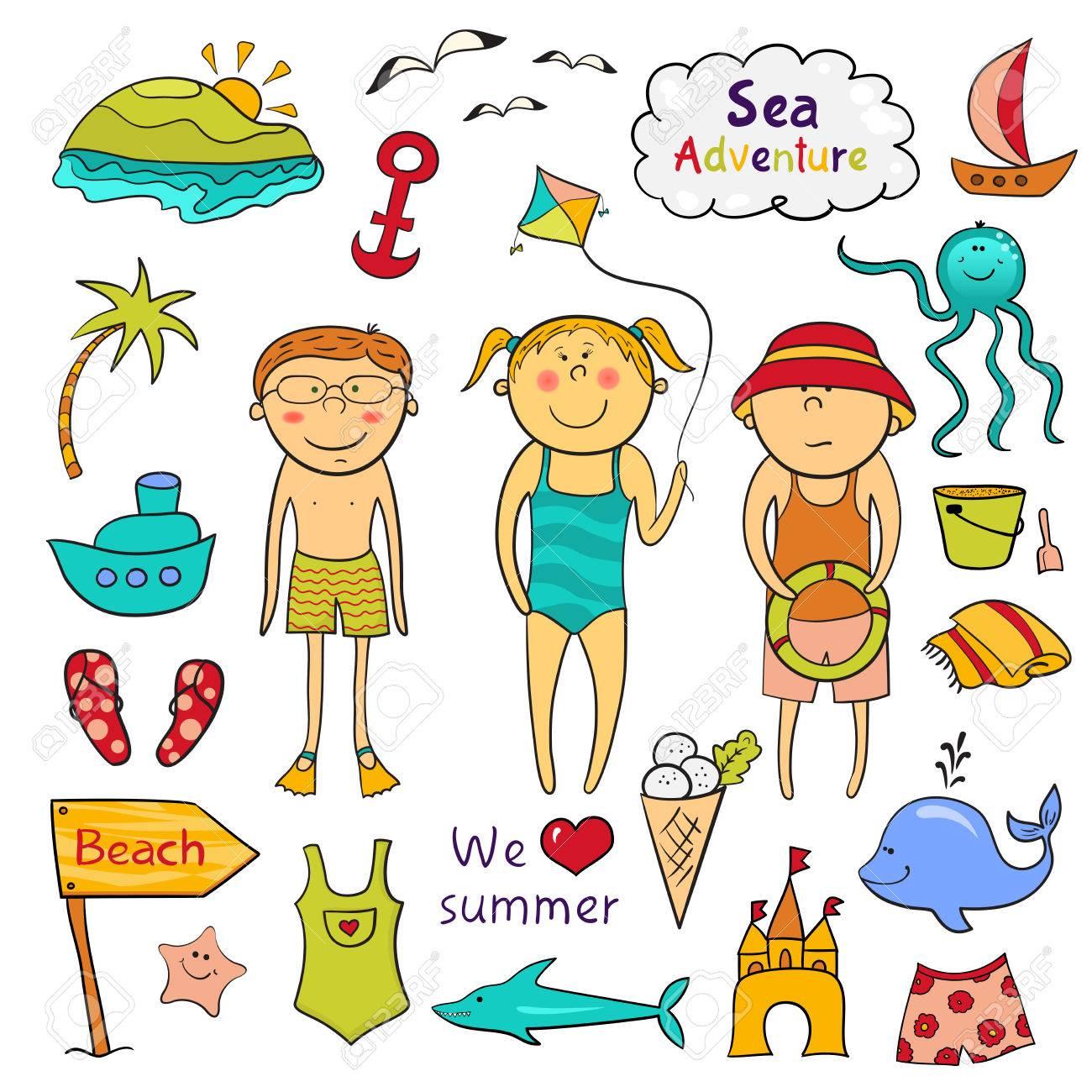 beach graphic set cartoon children ute sea animals accessories