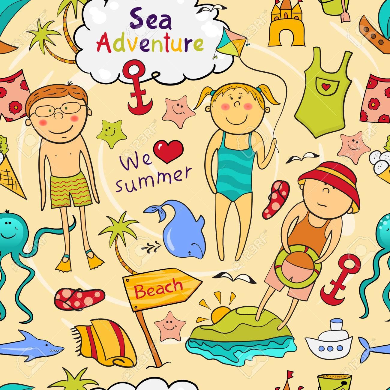 beach seamless pattern with cartoon children cute sea animals