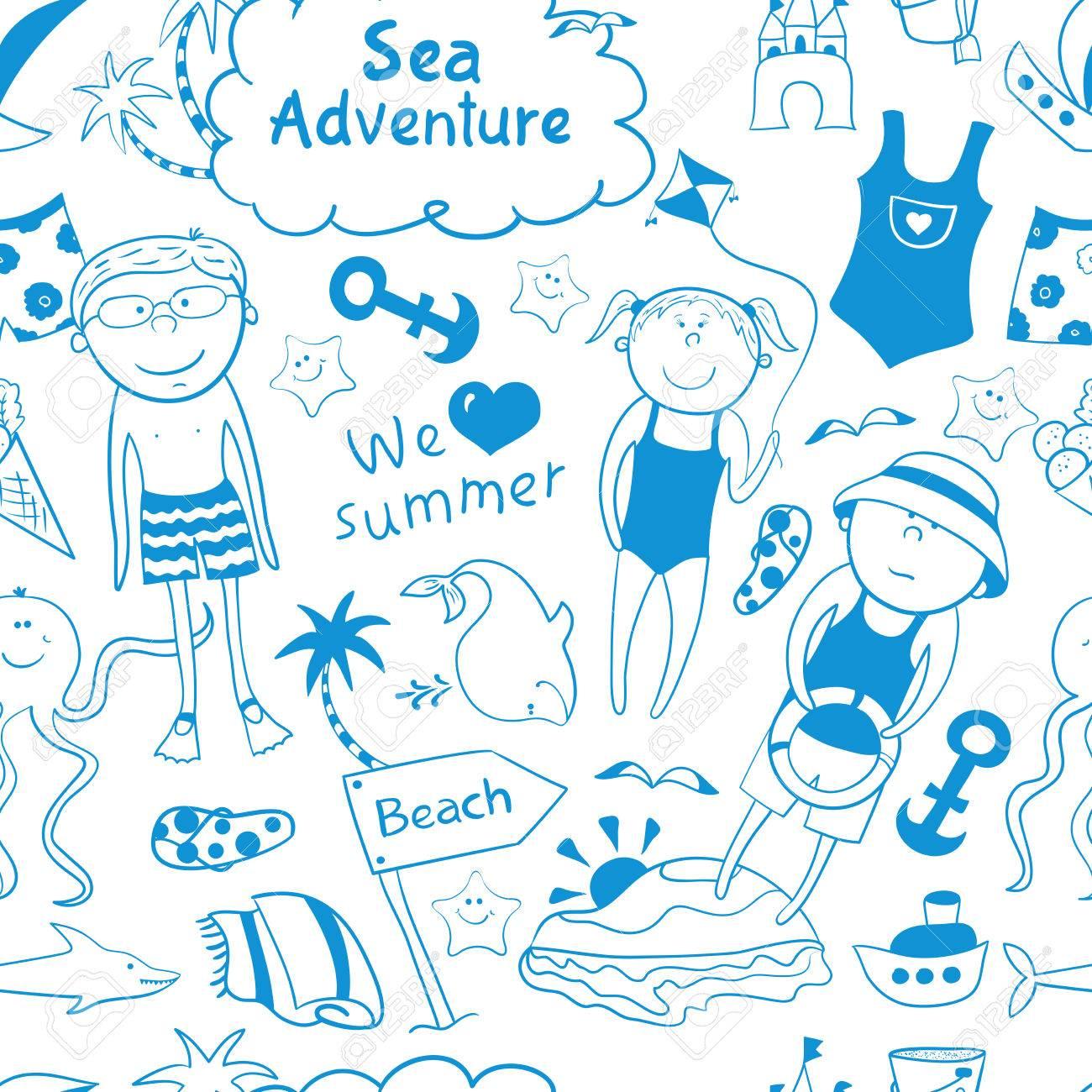 Banque d\u0027images , Plage transparente patternBeach seamless avec des enfants  de dessin animé, mignon animaux marins, des accessoires de style de  griffonnage