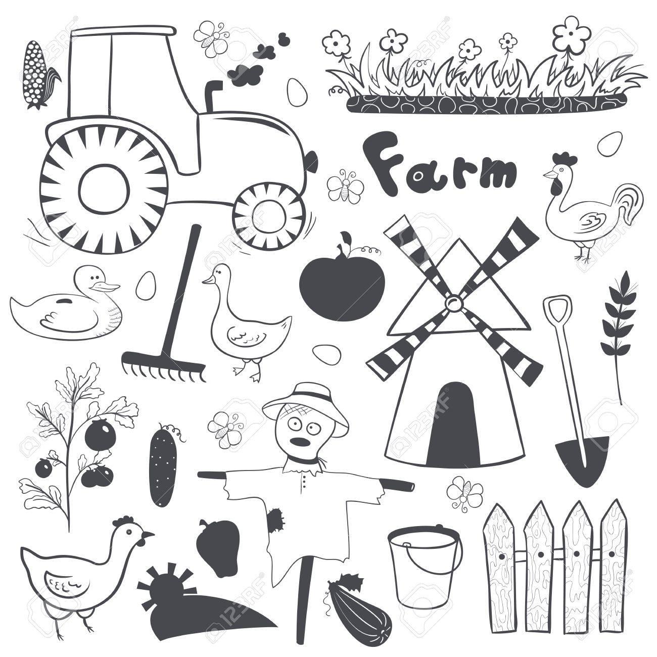 ベクトル ファームかわいい白黒イラスト落書きスタイルの設定