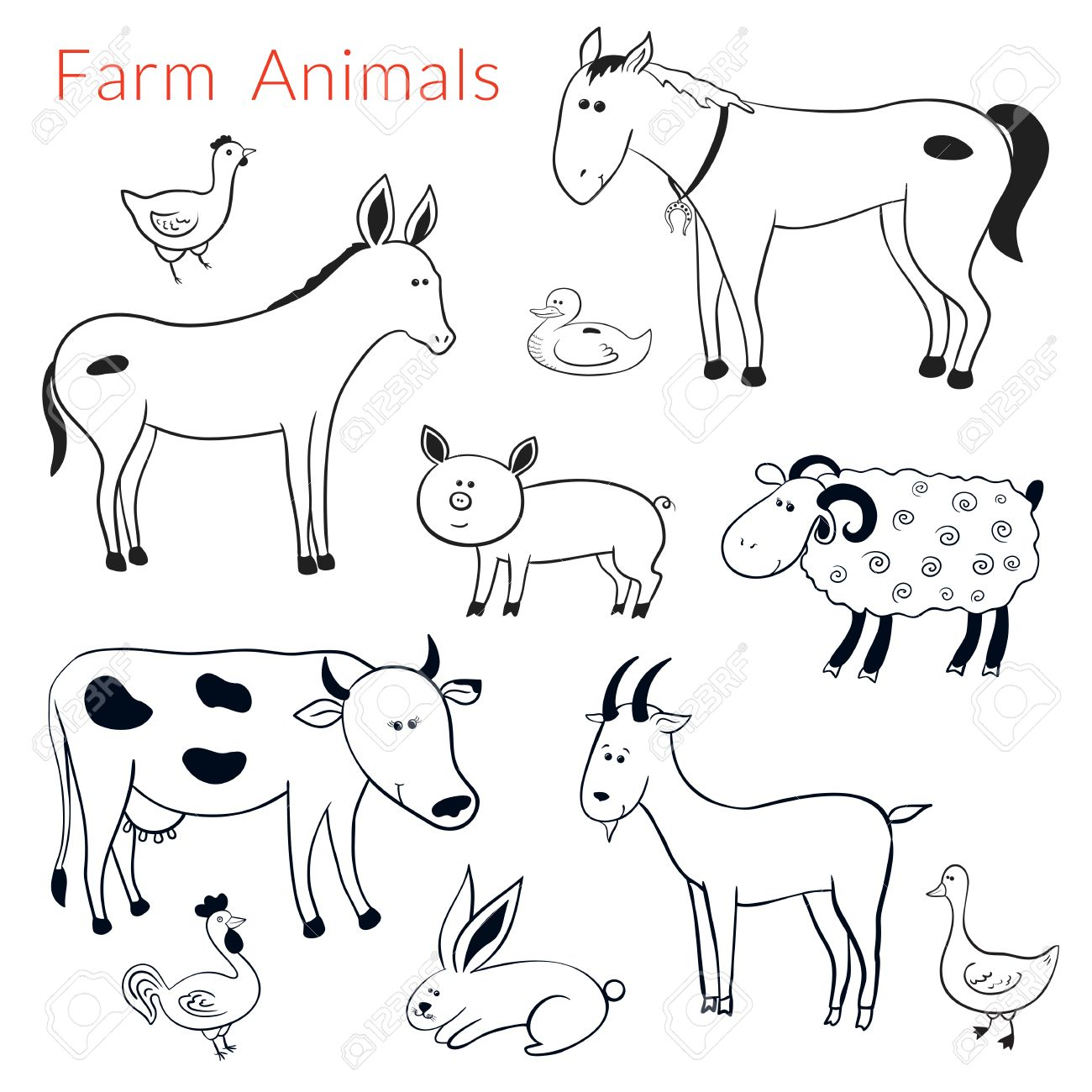Set Of Vector Different Farm Animals In Cartoon Style Black White
