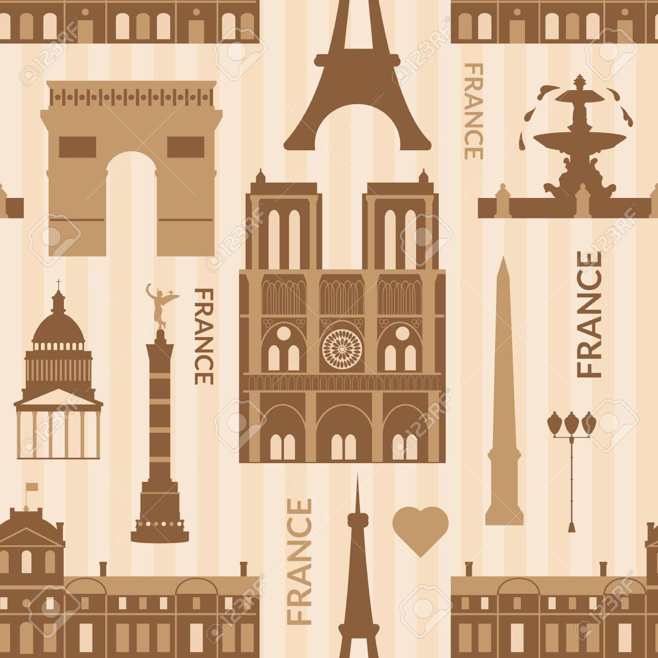 Monuments de Paris, vecteur dessin animé monochrome pattern