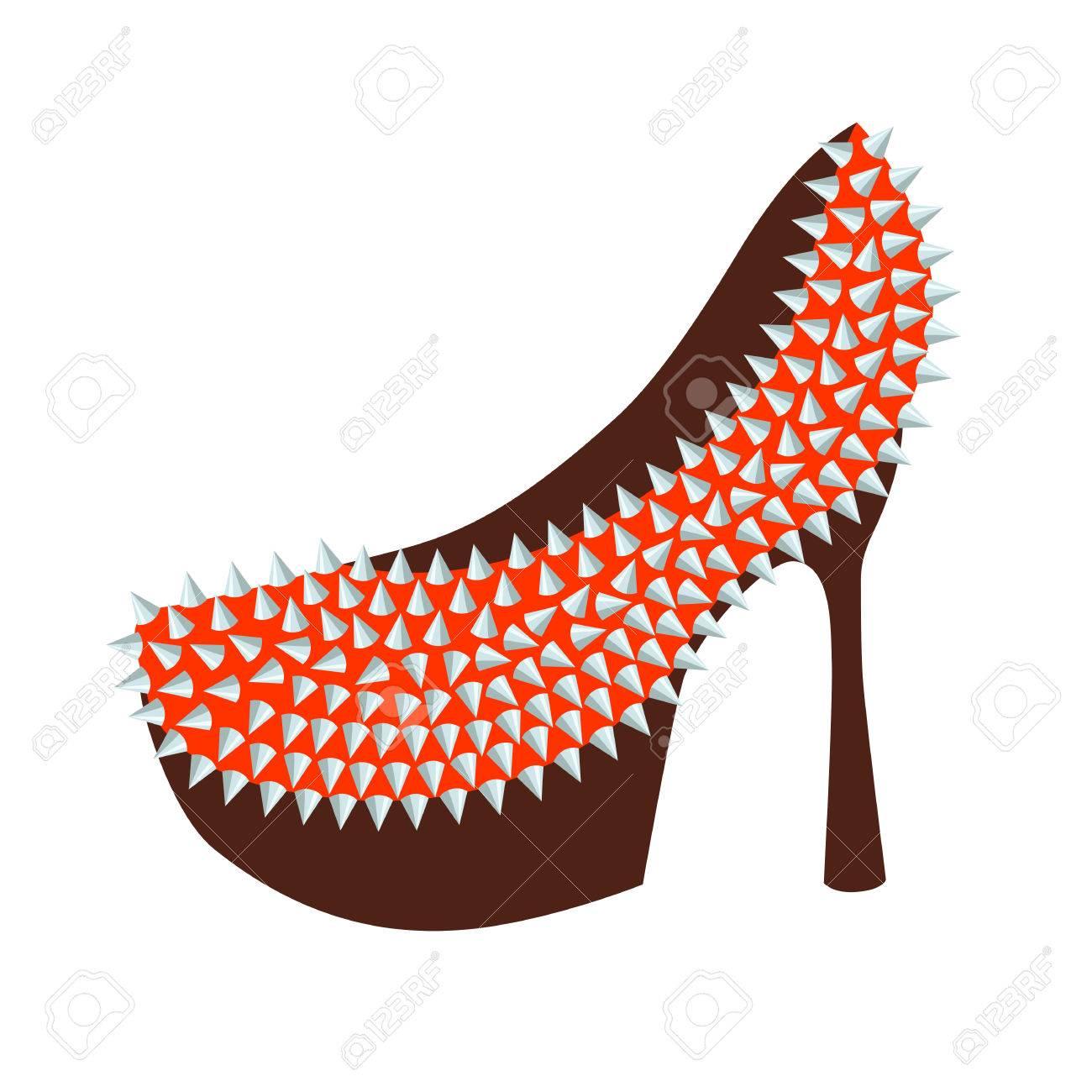 スタッズベクター イラストで飾られた女性のファッション高かかと靴赤