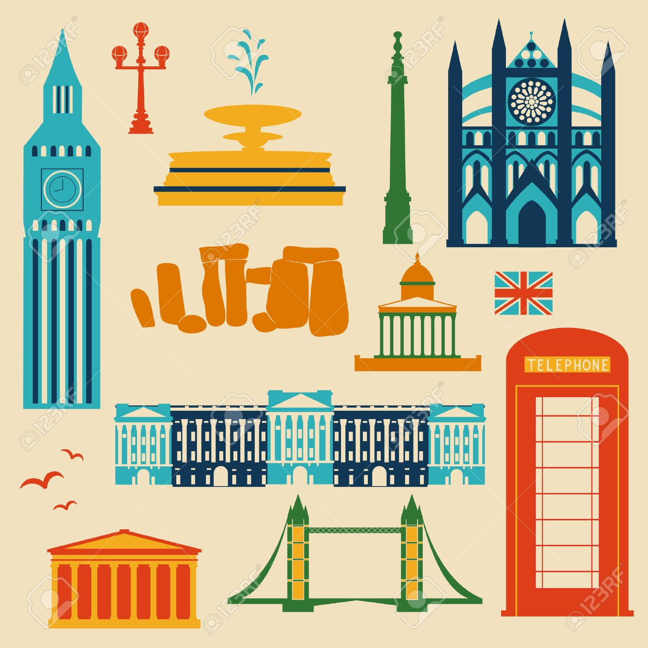Landmarks Of United Kingdom Vector Colorful Cartoon Flat Icon