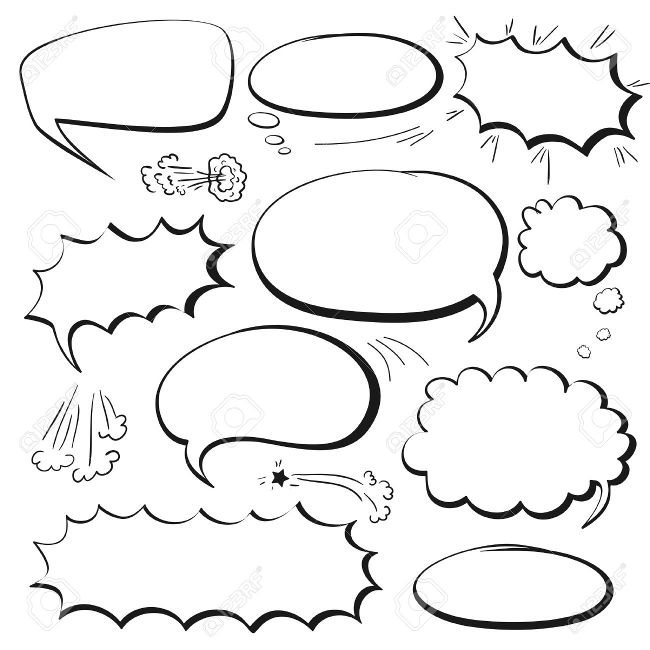 Set Of Empty Graphic Black And White Comics Speech Bubbles, Vector ...