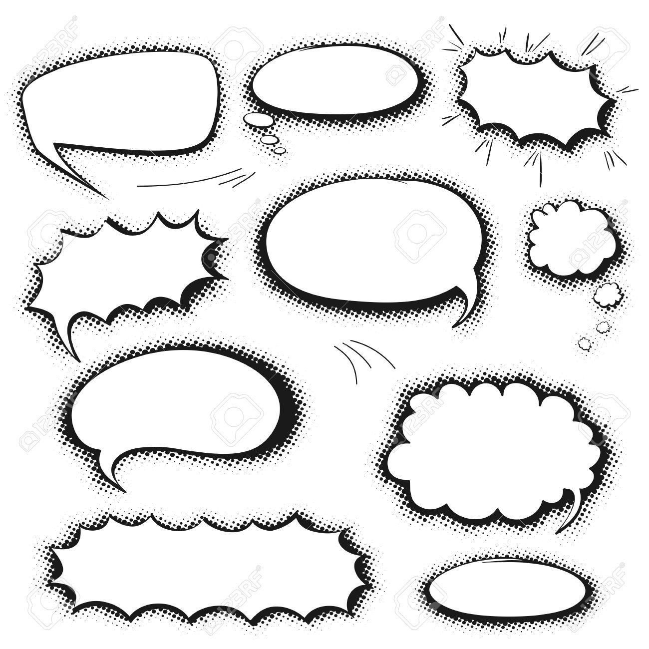 Set Of Empty Graphic Black And White Comics Speech Bubbles, Vector ...
