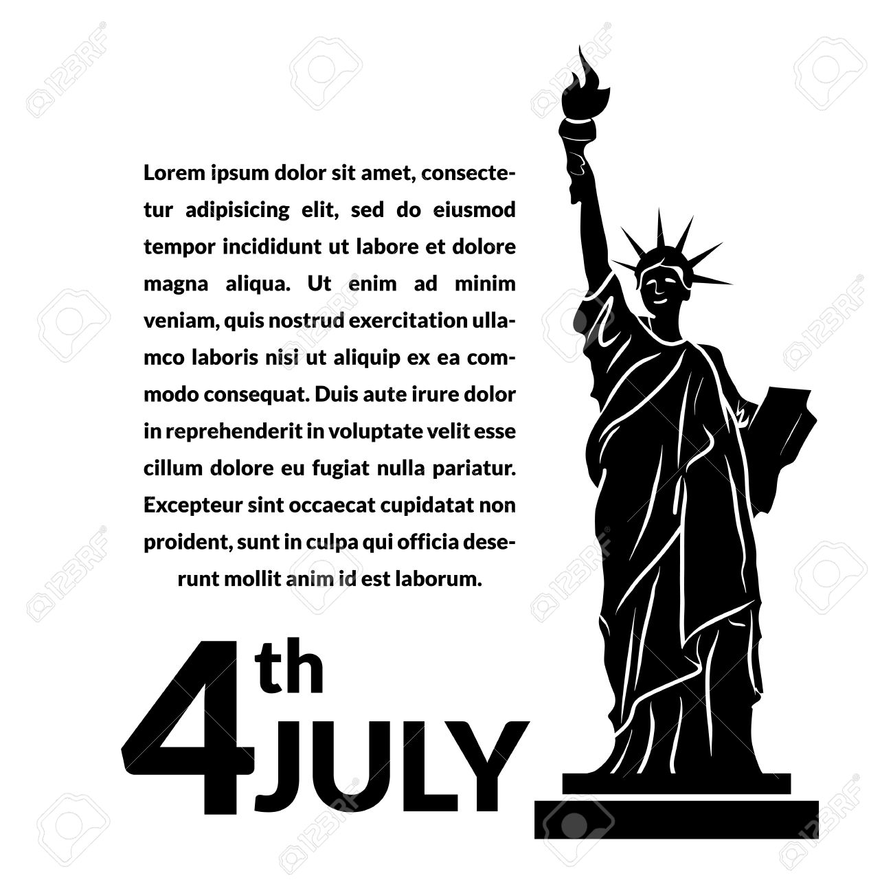 sale retailer 3e220 f3f36 Black and white vector illustration of independence day USA, holiday card  by July 4 Stock