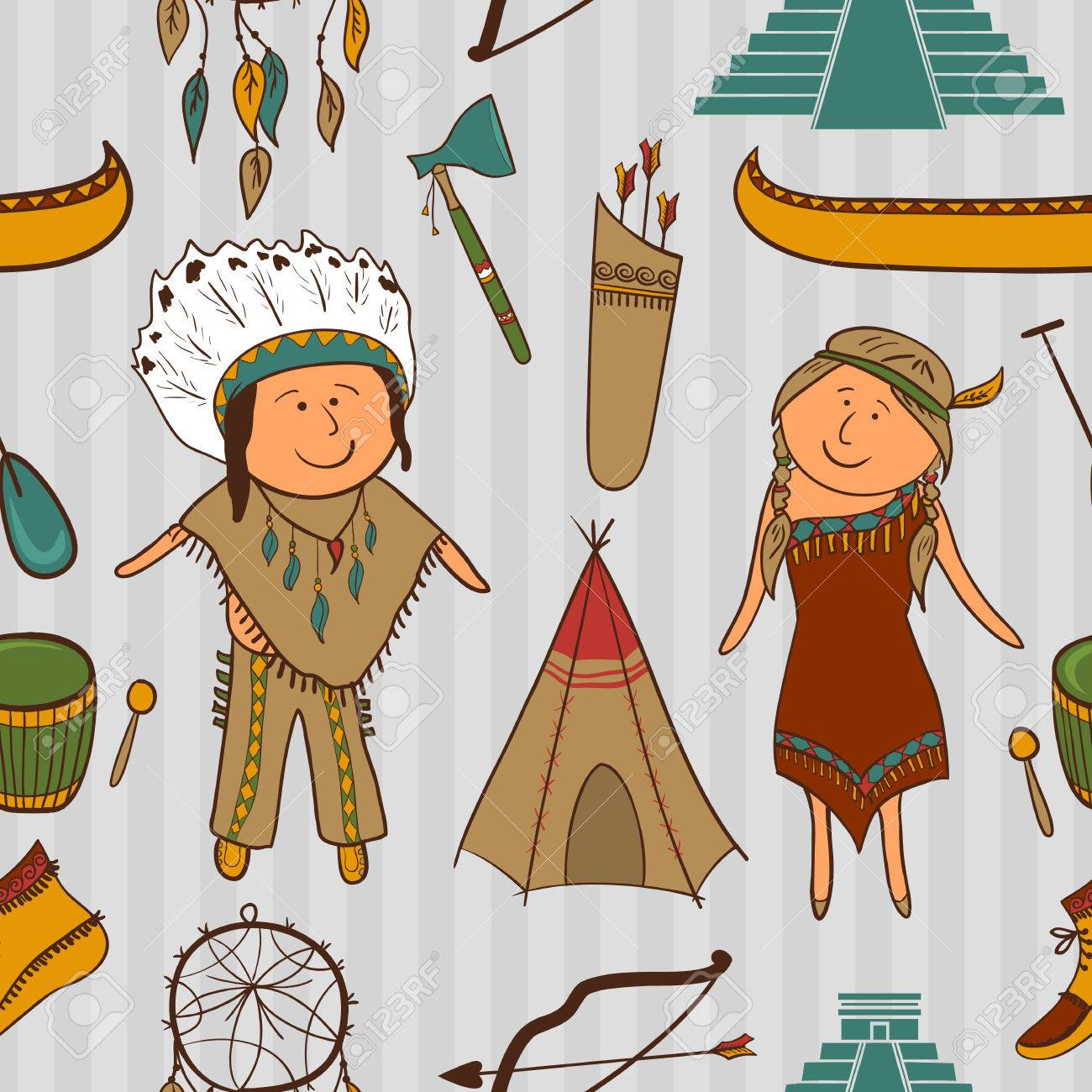 native american indian culture vector seamless pattern in cartoon