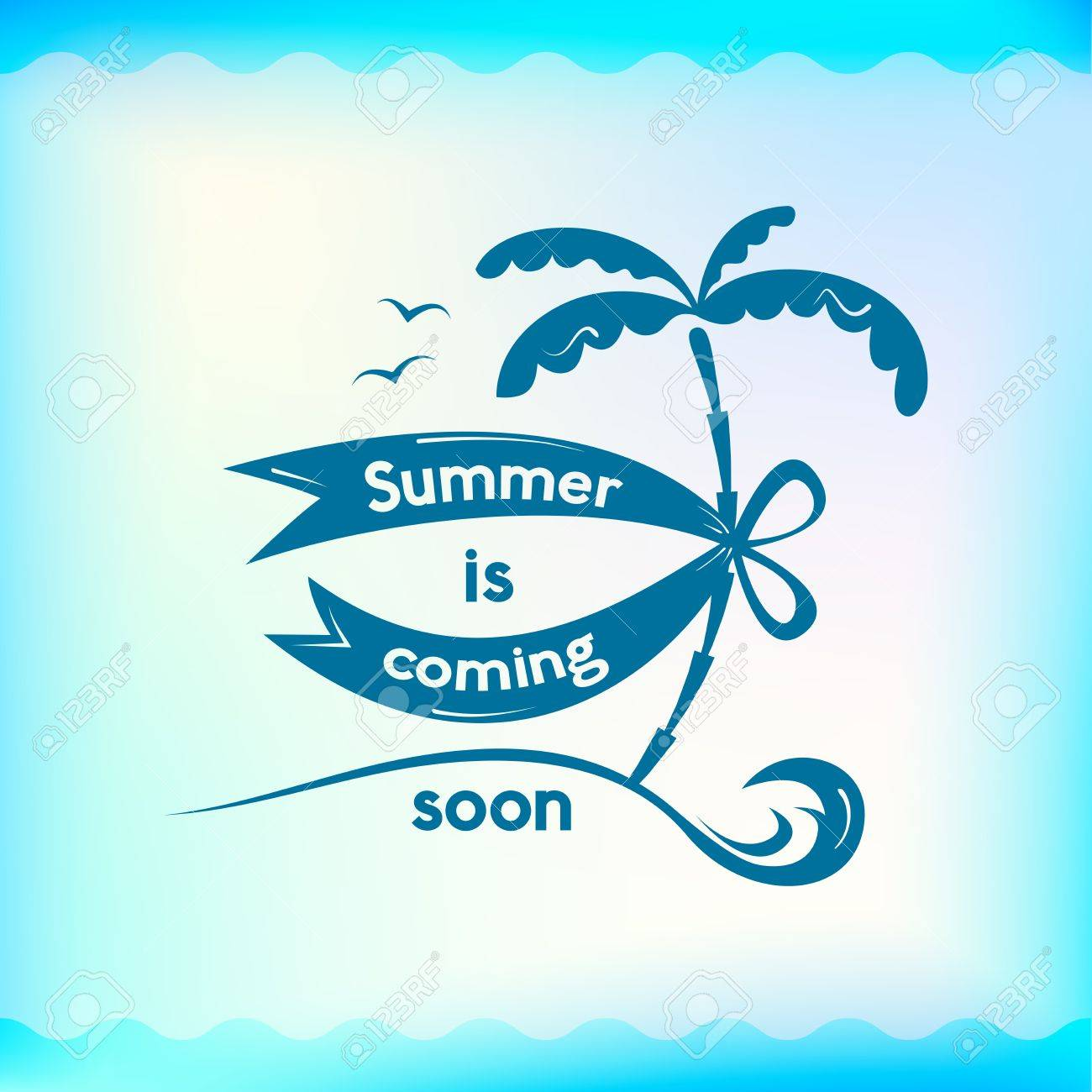 Summer Sign, Summer Is Coming Soon, Retro Typography, Sea And Beach On Water