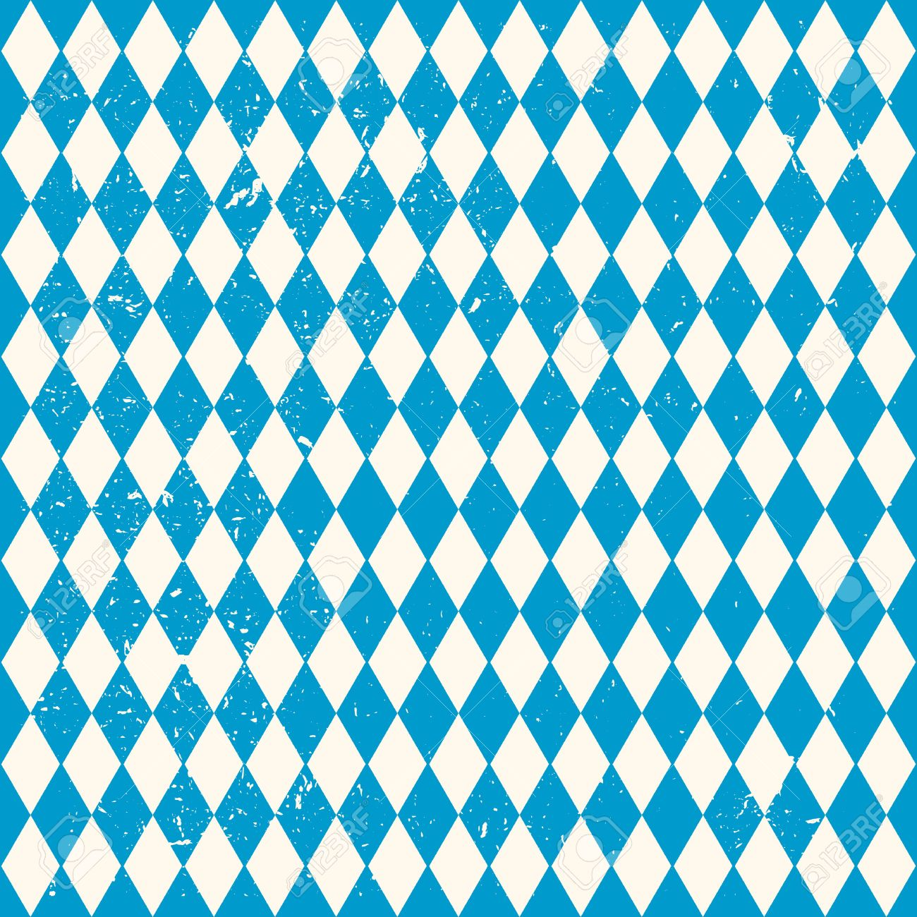 Oktoberfest Pattern With Blue And White Rhombus