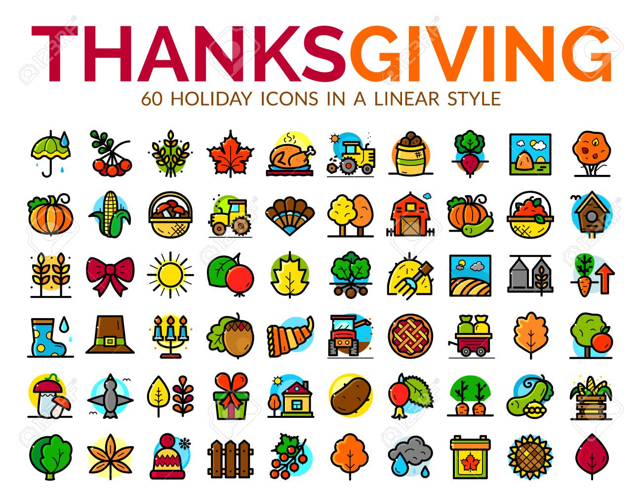 thanksgiving day vector icons set royalty free cliparts vectors