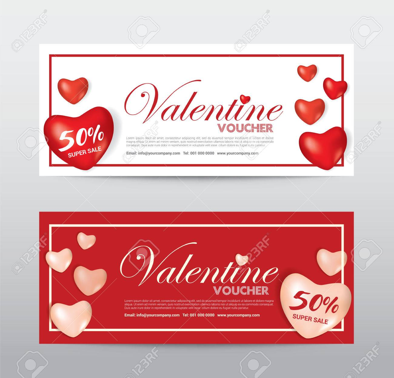 Happy Valentine Day Gift Voucher Coupon Banner Card Promotion
