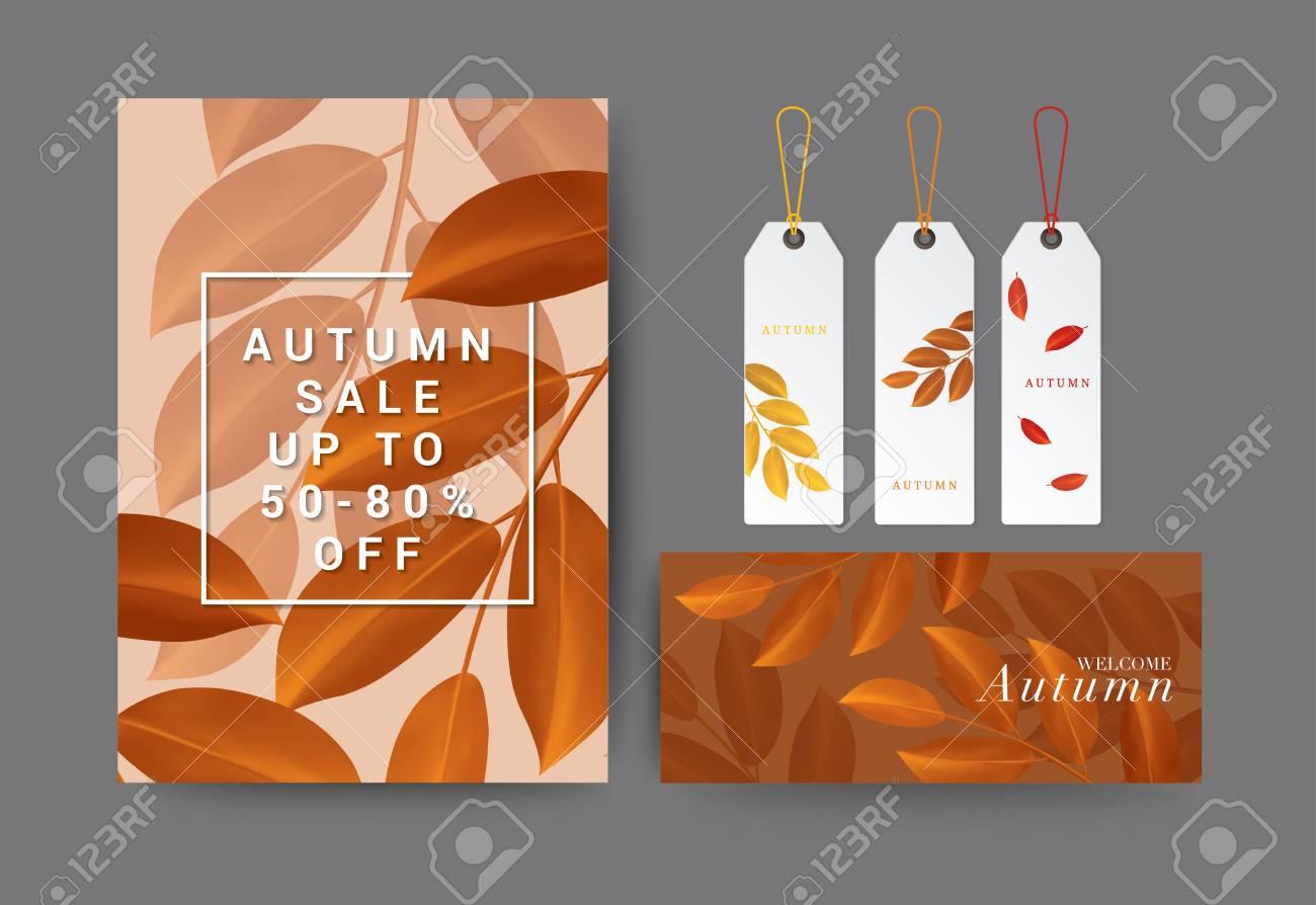 Satz Von Herbst-Verkauf, Geschenkgutschein-Flyer-Vorlage Für Spa ...