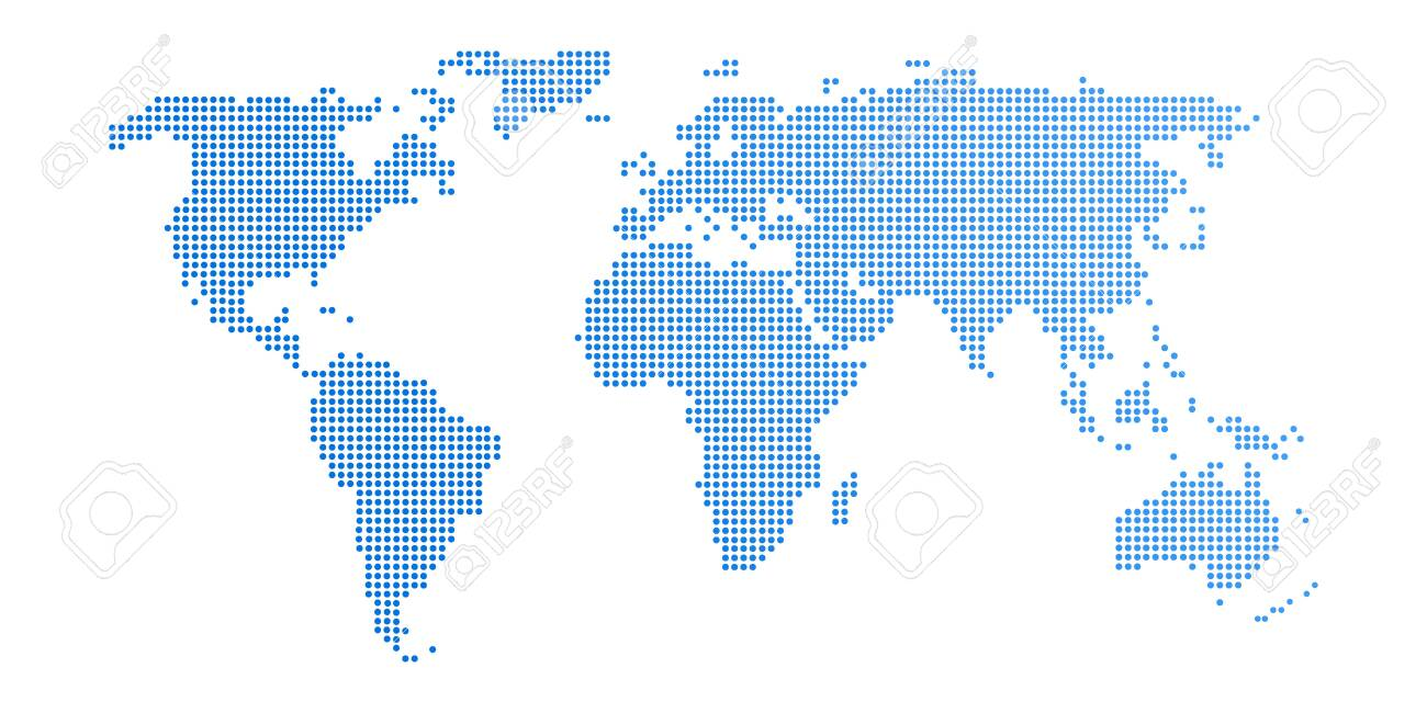 Abstract computer graphic World map of blue round dots. Vector illustration. - 141869299
