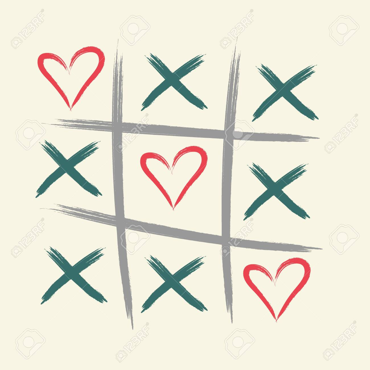 Tic tac toe game with criss cross and heart sign mark. XOXO. Hand drawn brush. Happy Valentines day card. - 143171056
