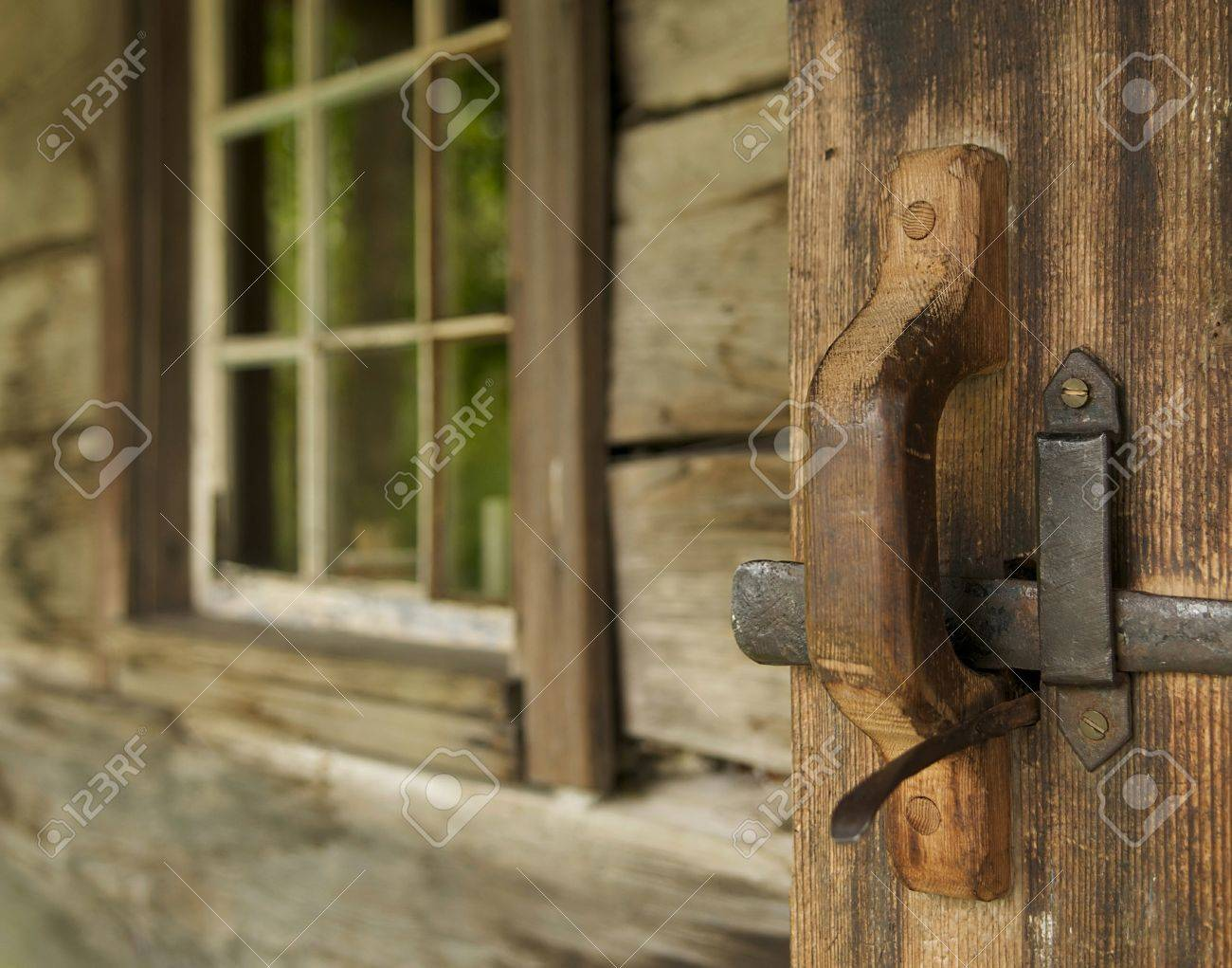 Stock Photo   Welcome To Log Cabin Door And Window