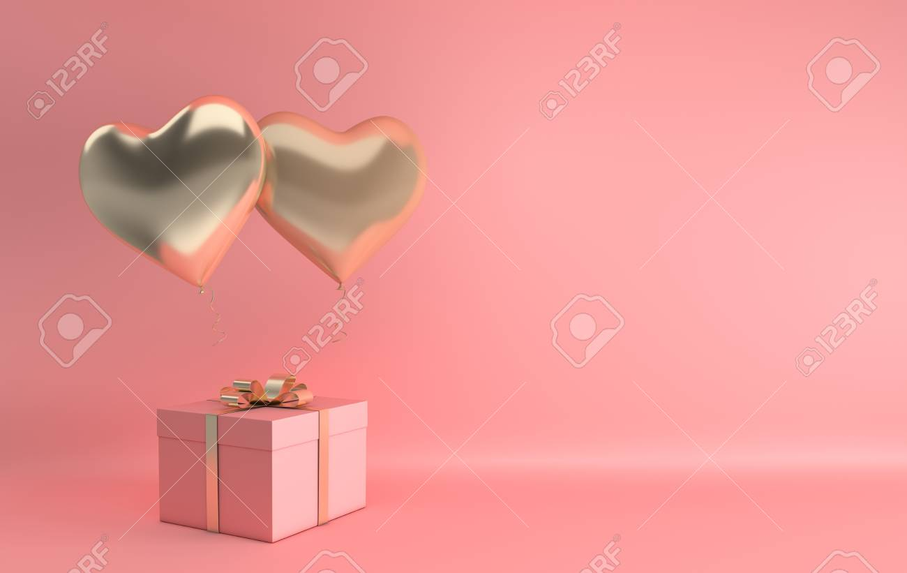 3d render illustration of realistic gold glossy heart balloon, gift box with golden bow on pink background. Valentine's Day romantic elegant 14 february ...