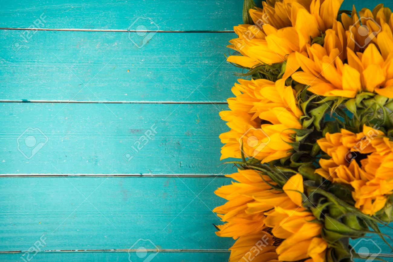 Yellow Fresh Sunflowers On Rustic Wooden Table Background Stock