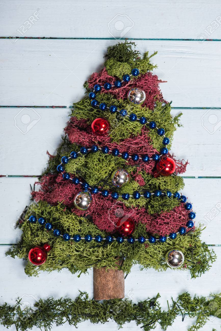 over head view on christmas tree made from moss with ornaments stock photo 34235554