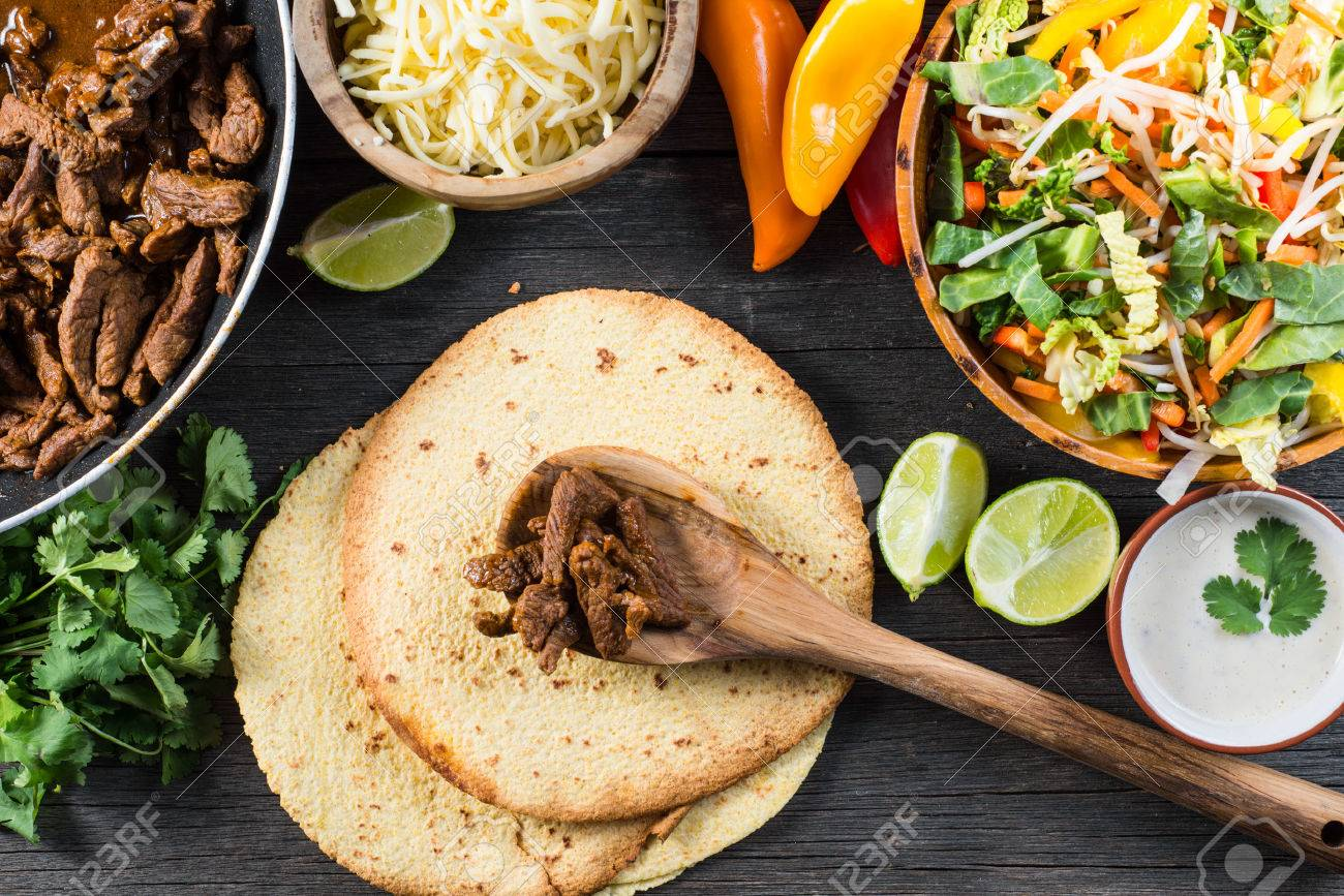 Preparation Authentic Mexican Tacos Top View Stock Photo Picture