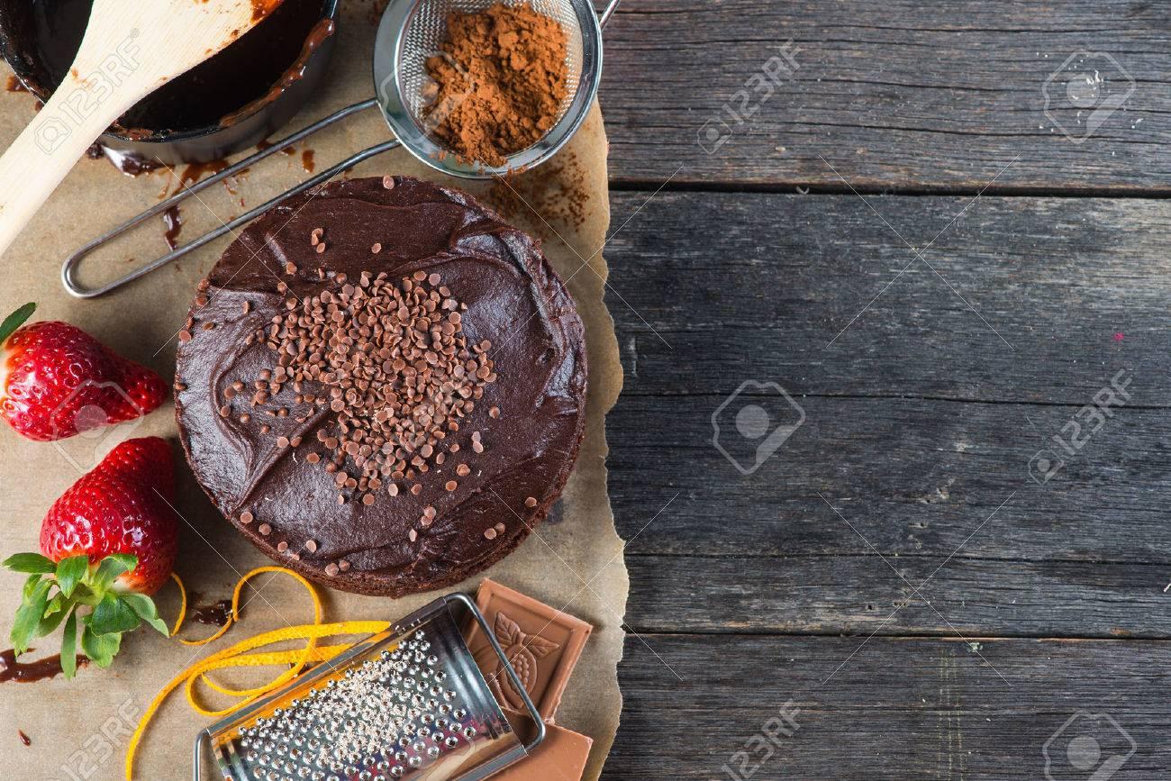 Maison Gâteau Au Chocolat Recette Fond Frontière Den Haut Banque D