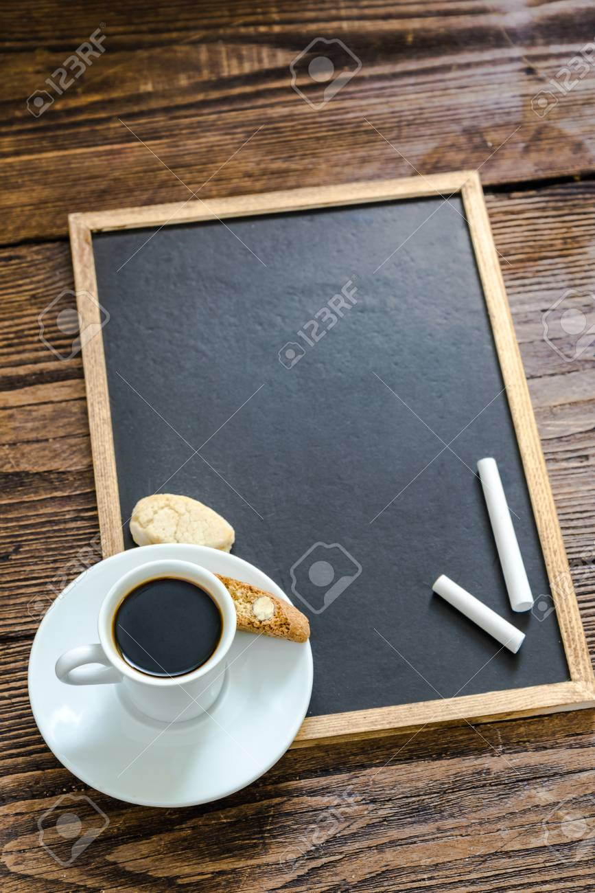 Coffee,cake Chalk Empty Board, Menu Template Stock Photo, Picture ...