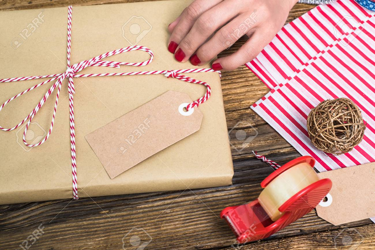 Christmas Gift Packed With Name Tag Stock Photo, Picture And Royalty ...