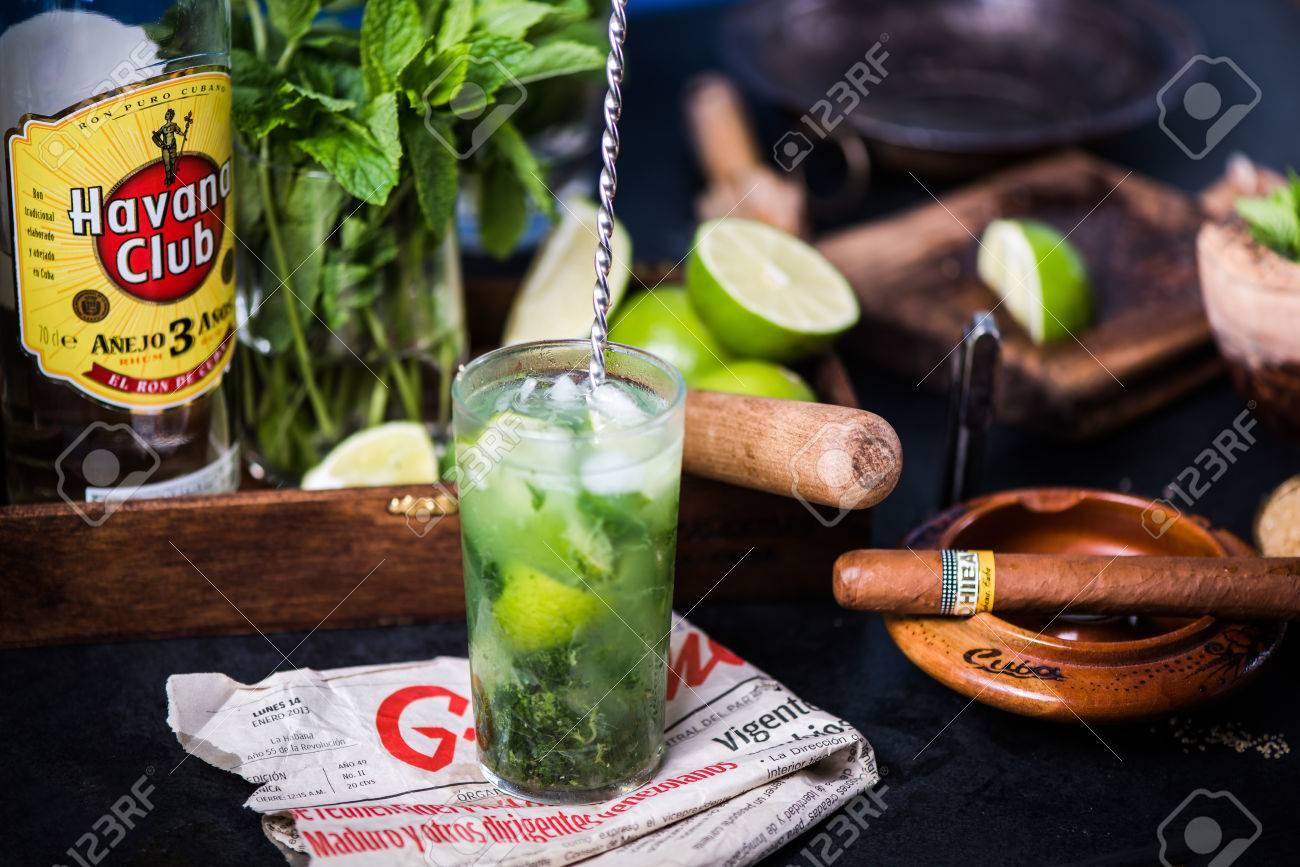 LONDON, UK – SEPTEMBER 3, 2016: Havana Club Rum used to prepare authentic Cuban Mojito cocktail. - 62032165