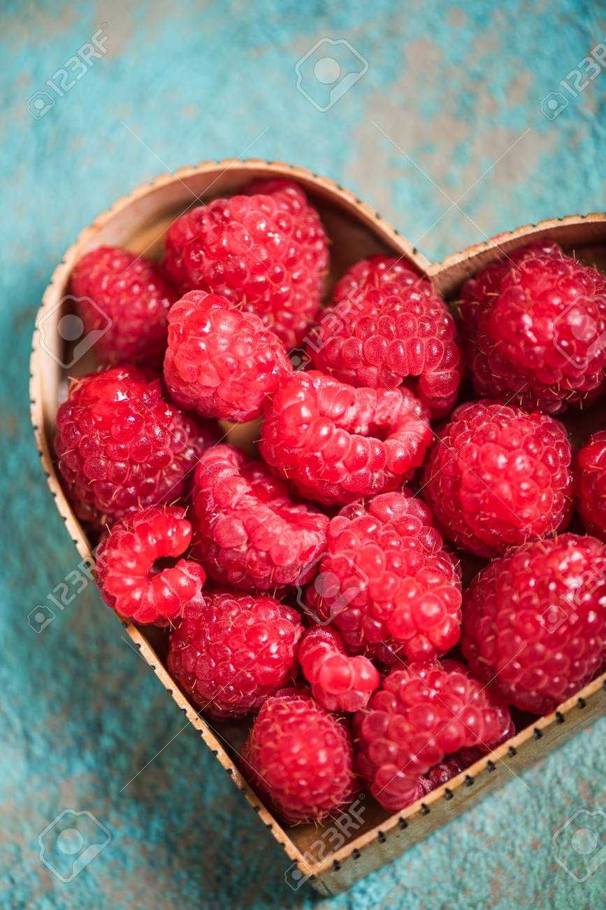 Raspberries In Heart Shape Symbol Love For Fruits And Healthy