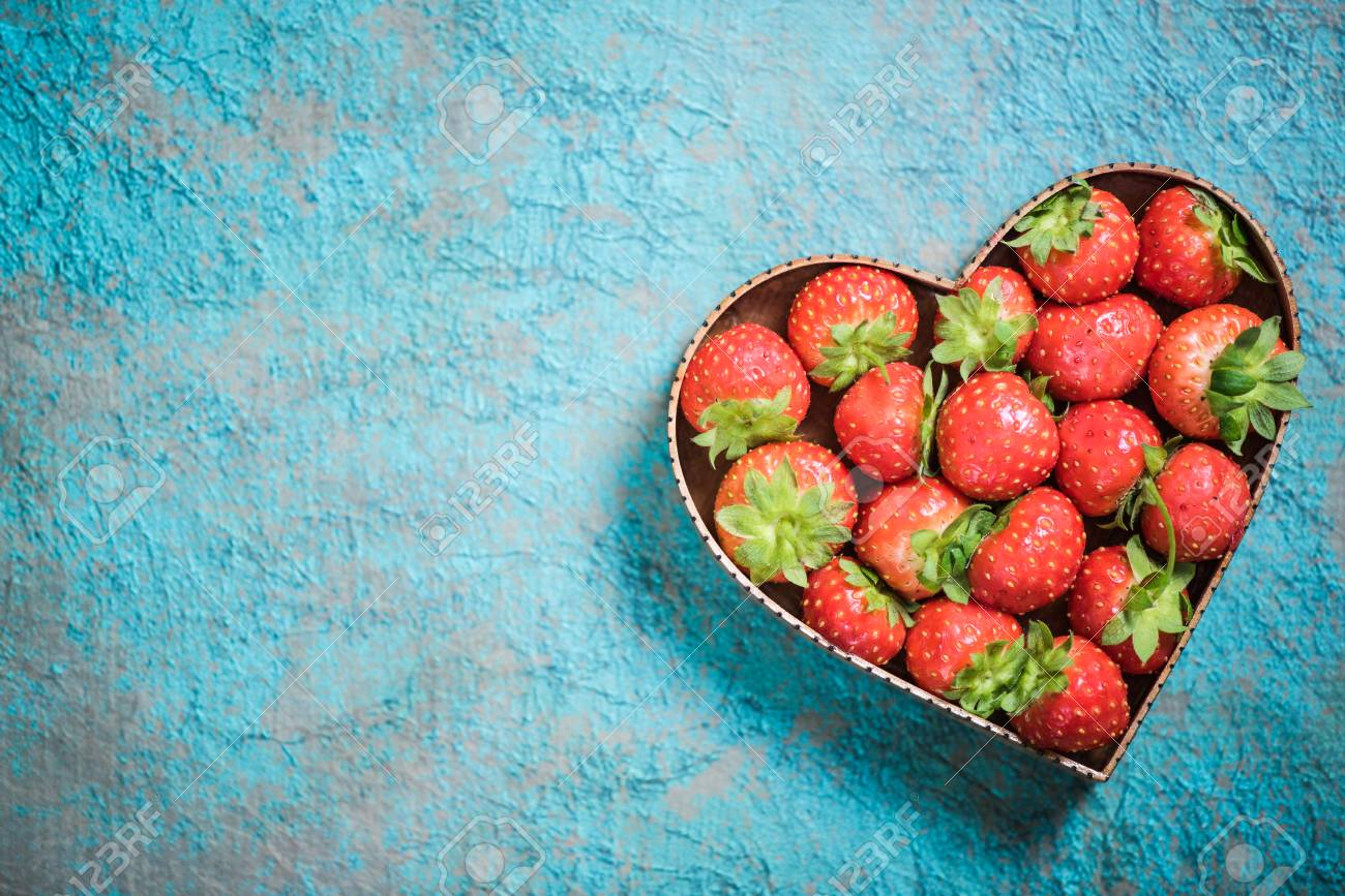 Strawberries In Heart Shape Symbol Love For Healthy Living And