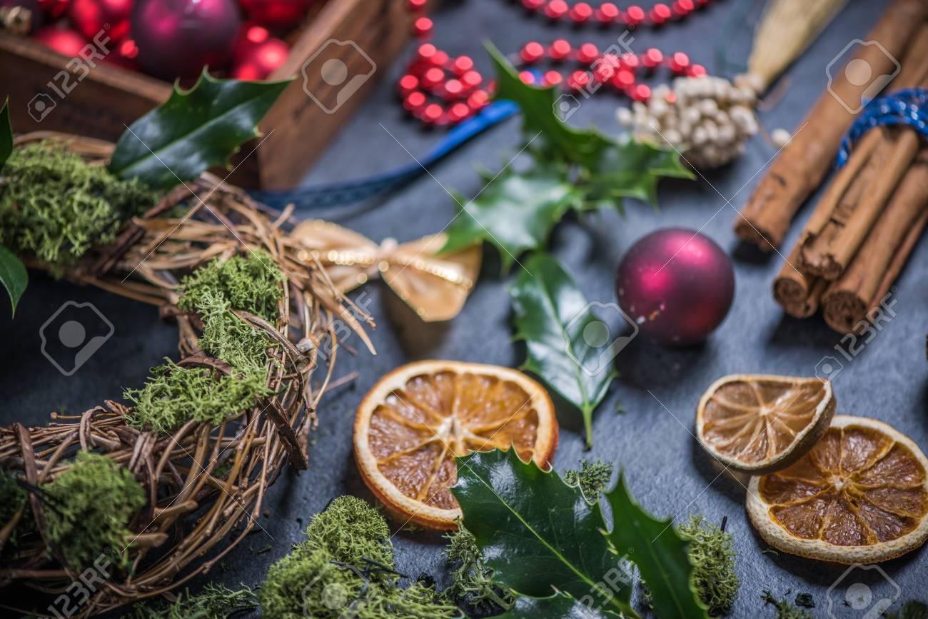 Making Christmas Decoration Garland Festive Home Decor Stock Photo