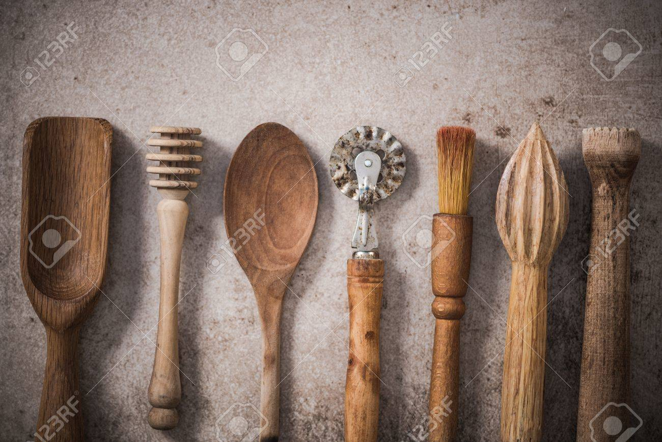 Vintage Wooden Kitchen Utensils Flat Lay On Stone Or Concrete Stock Photo Picture And Royalty Free Image Image 83102397