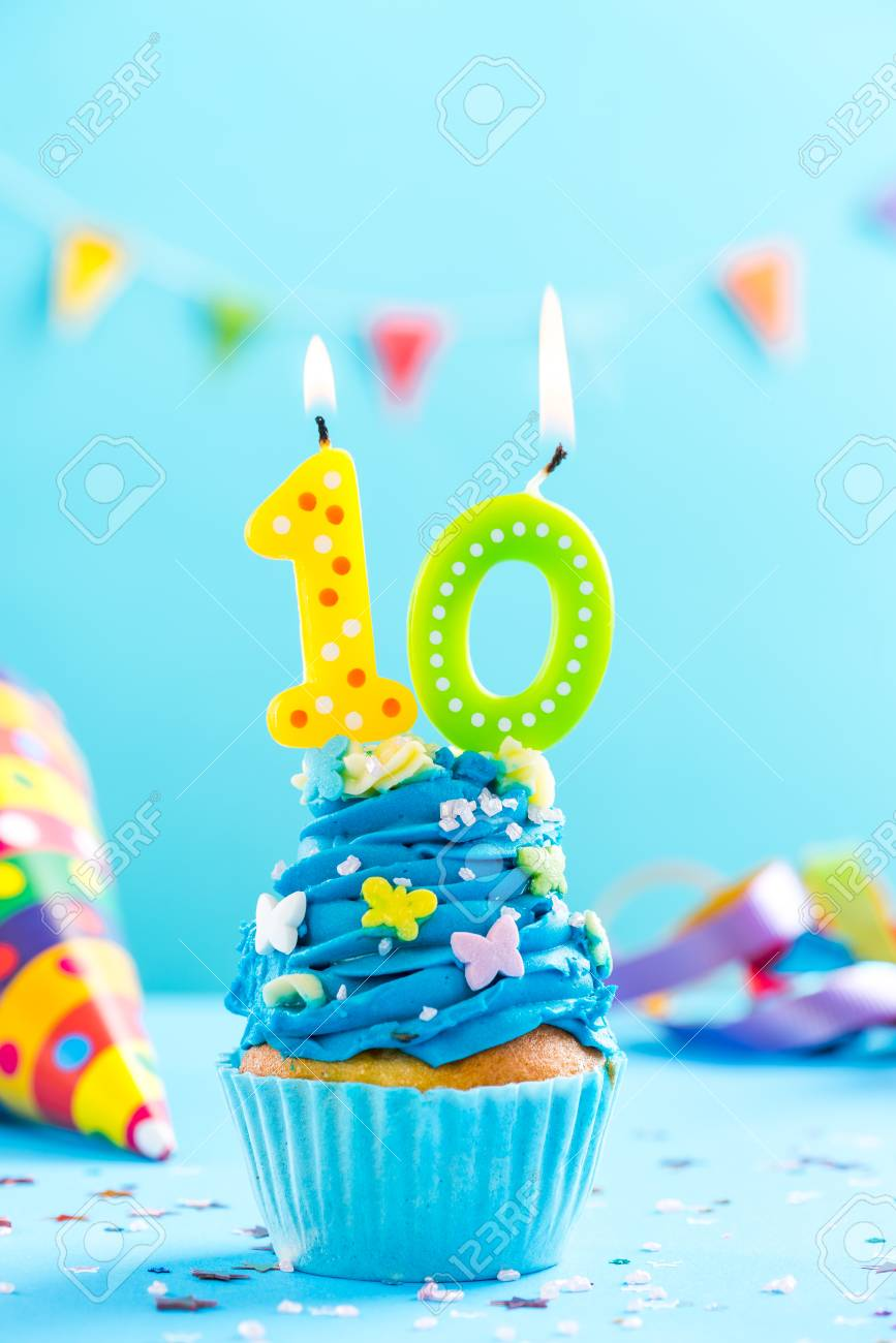 Miraculous Tenth 10Th Birthday Cupcake With Candle And Sprinkles Card Mockup Funny Birthday Cards Online Inifodamsfinfo