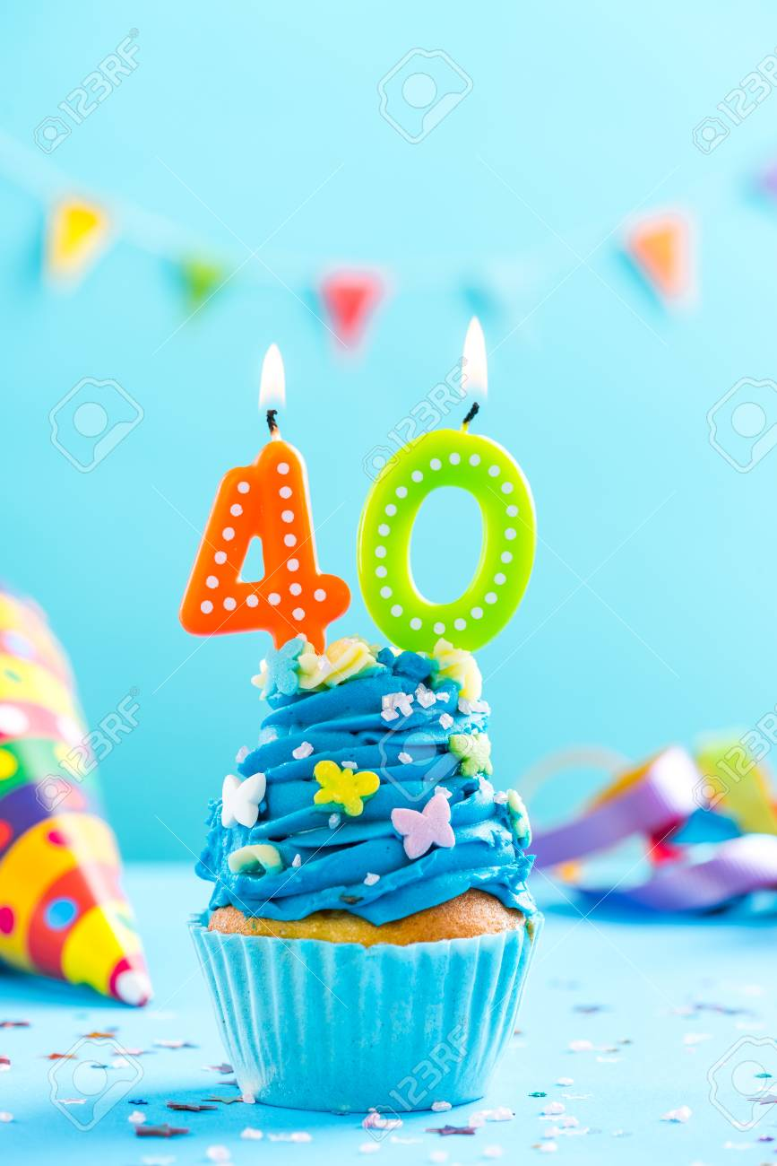 Fortieth 40th Birthday Cupcake With Candle And Sprinkles Card Mockup Stock Photo
