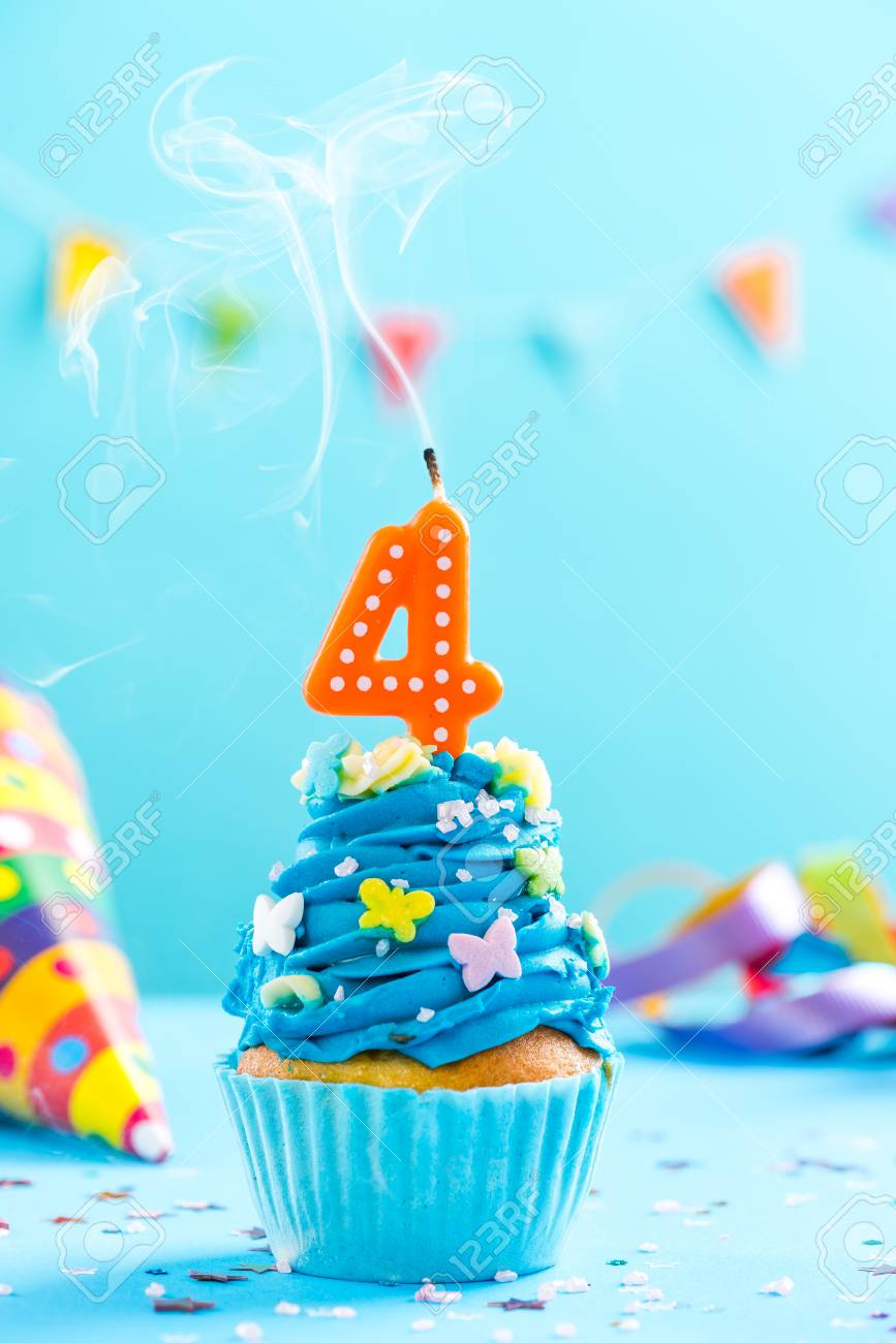 Fourth 4th birthday cupcake with candle blow up and sprinkles. Card mockup. - 91199174