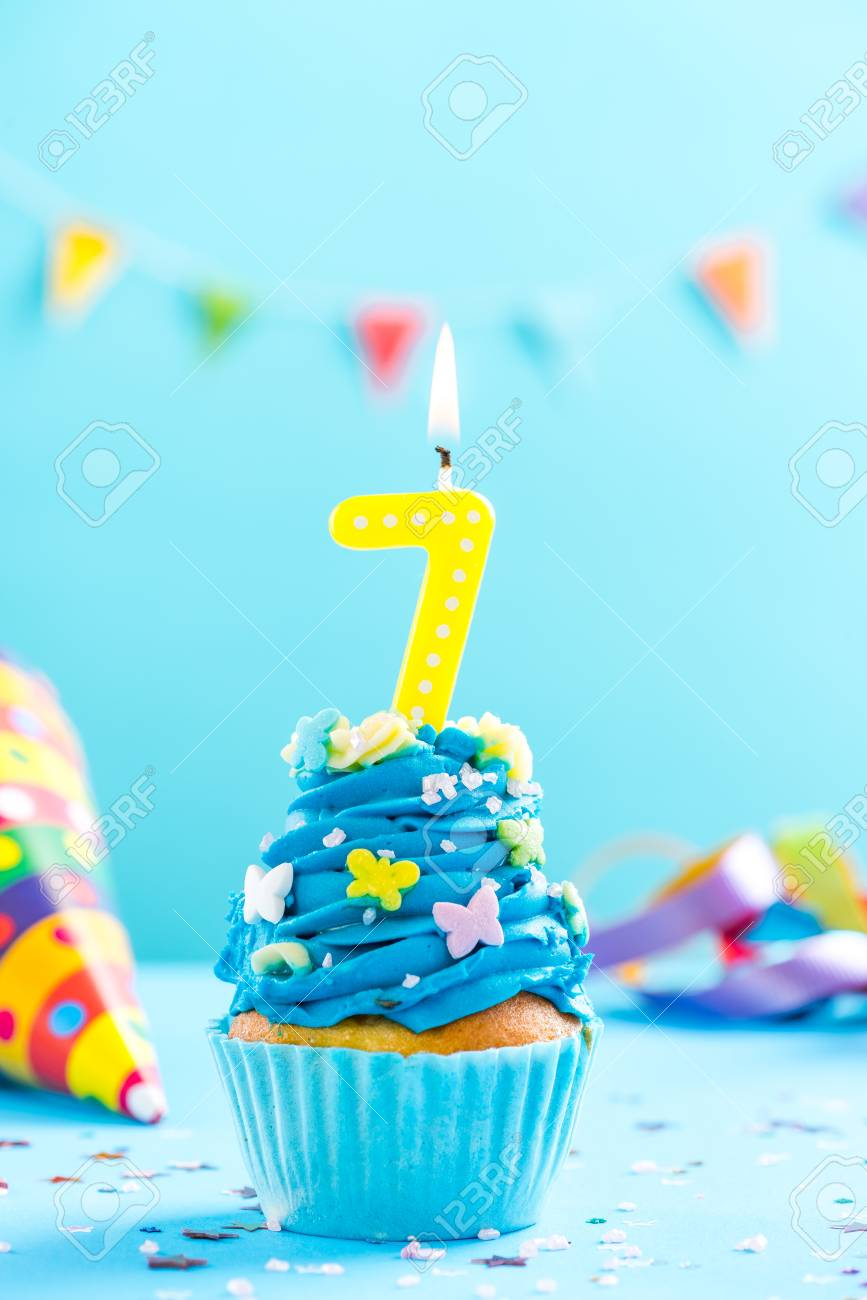 Seventh 7th Birthday Cupcake With Candle And Sprinkles Card Mockup Stock Photo