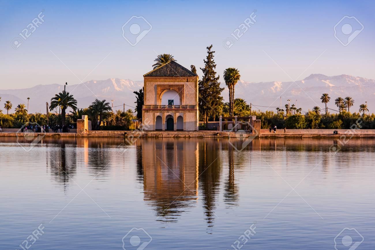Saadian Pavilion,Menara Gardens And Atlas In Marrakech, Morocco ...