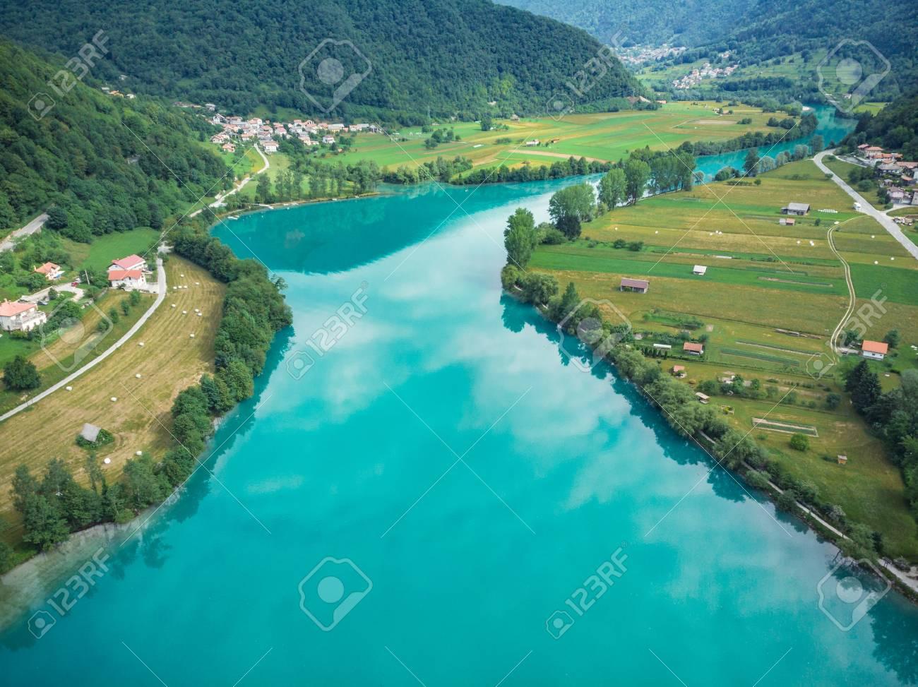 Beautiful unreal emerald green water in Most na Soci, Slovenia