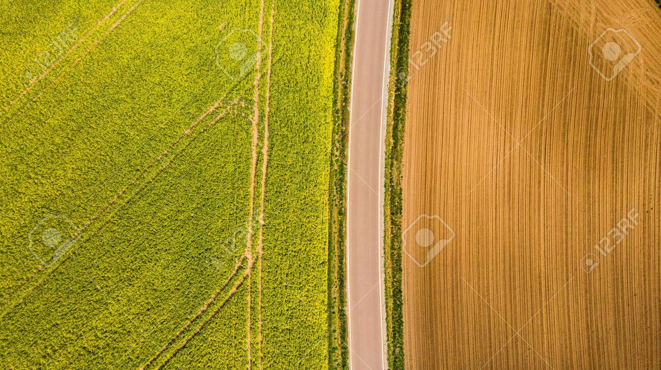 Abstract pattern in farmland fields at spring, aerial view, drone photo. - 122025243