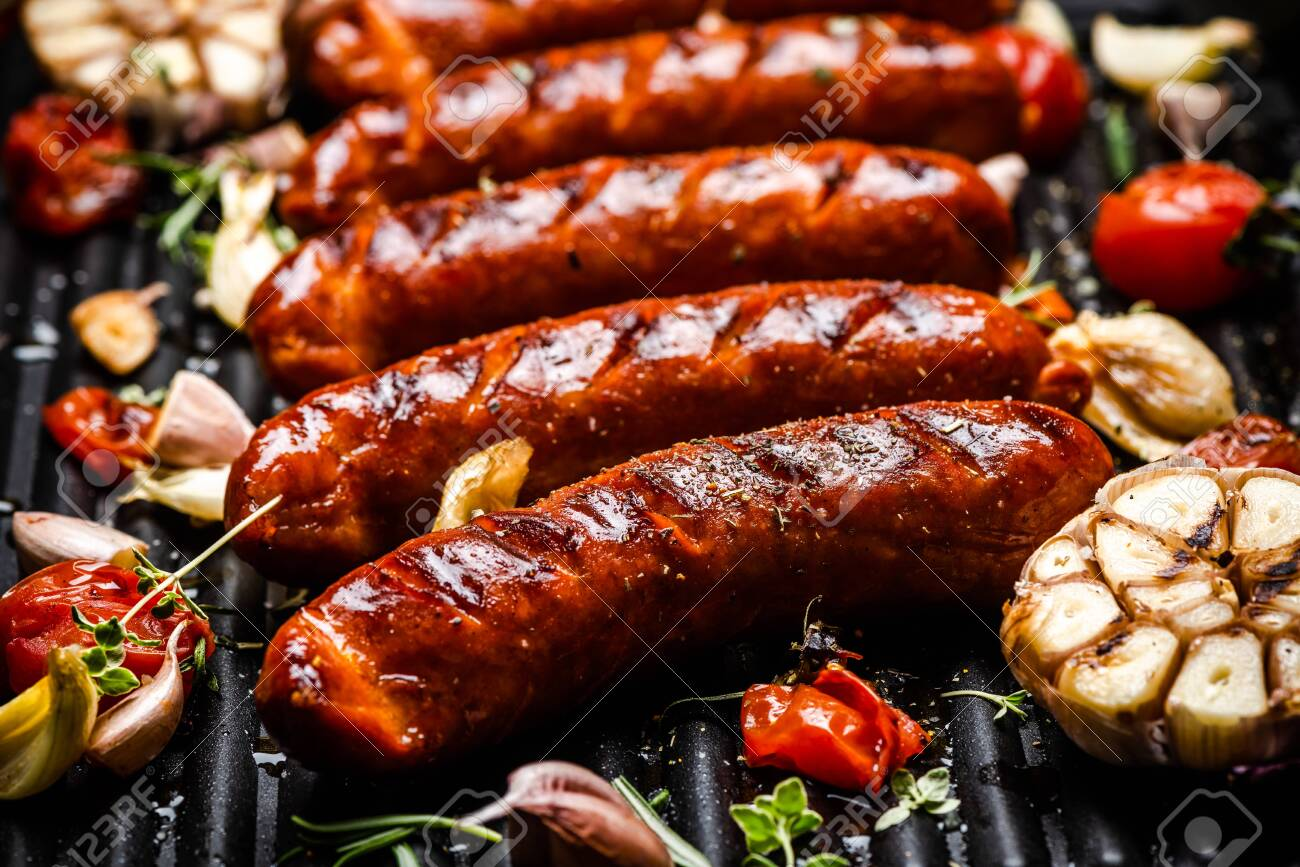 Barbecue Pork Sausages with Grilled Vegetables,Garlic, Herbs and Spices. - 145318915