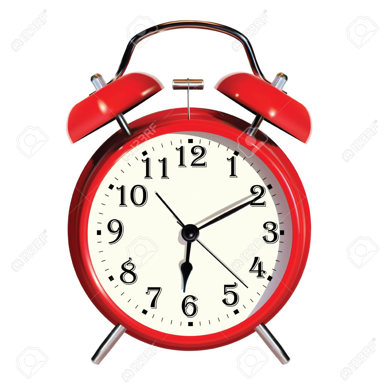Realistic vector alarm clock. Isolated on white background. - 147940096