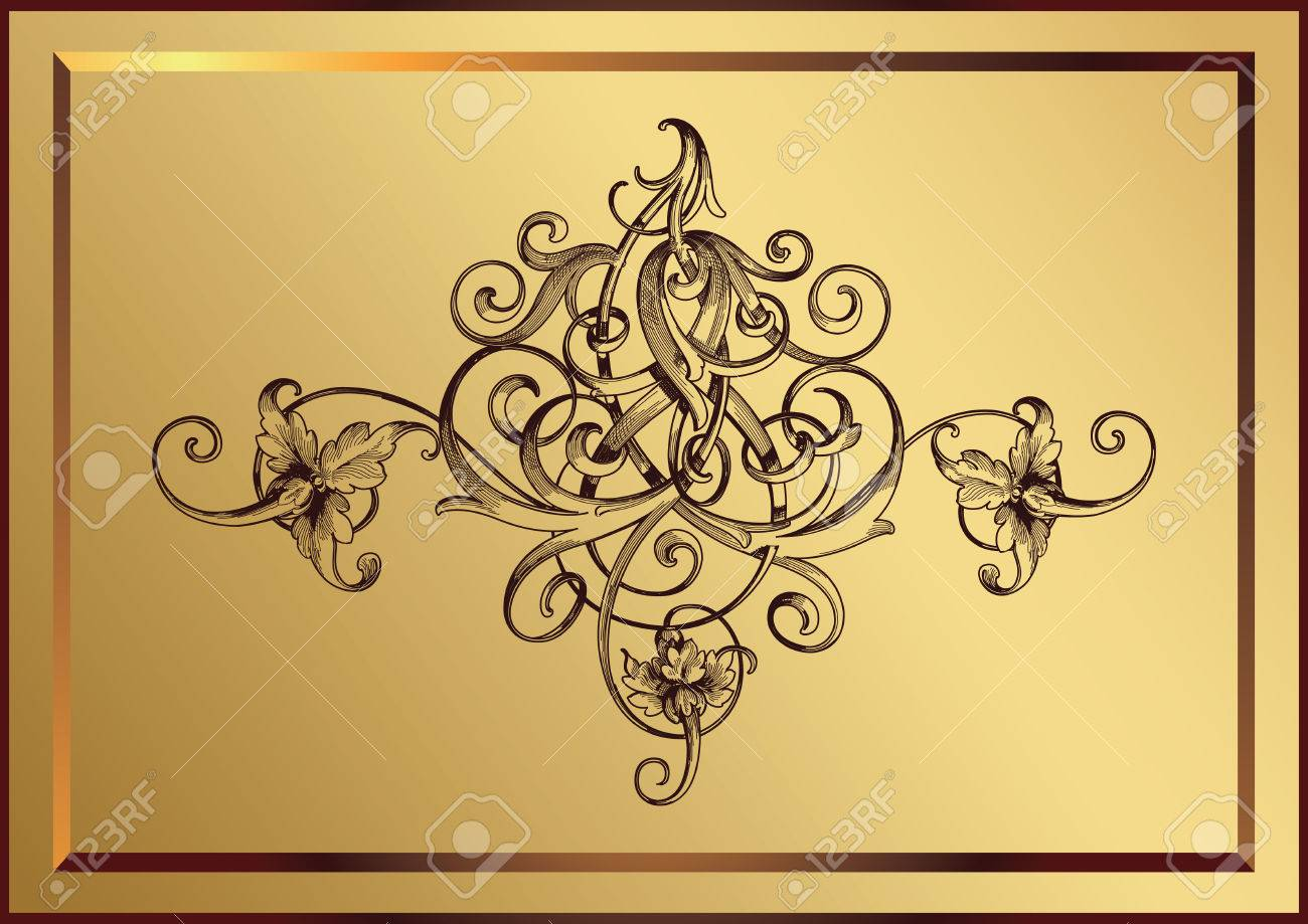 golden floral with frame Stock Vector - 2706612