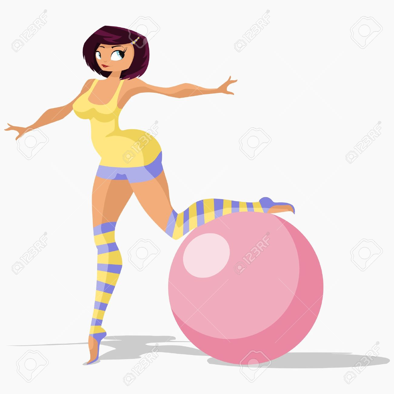 Vector illustration:girl in gym suit stands on one leg and leans on gymnastic ball. Stock Vector - 6326694