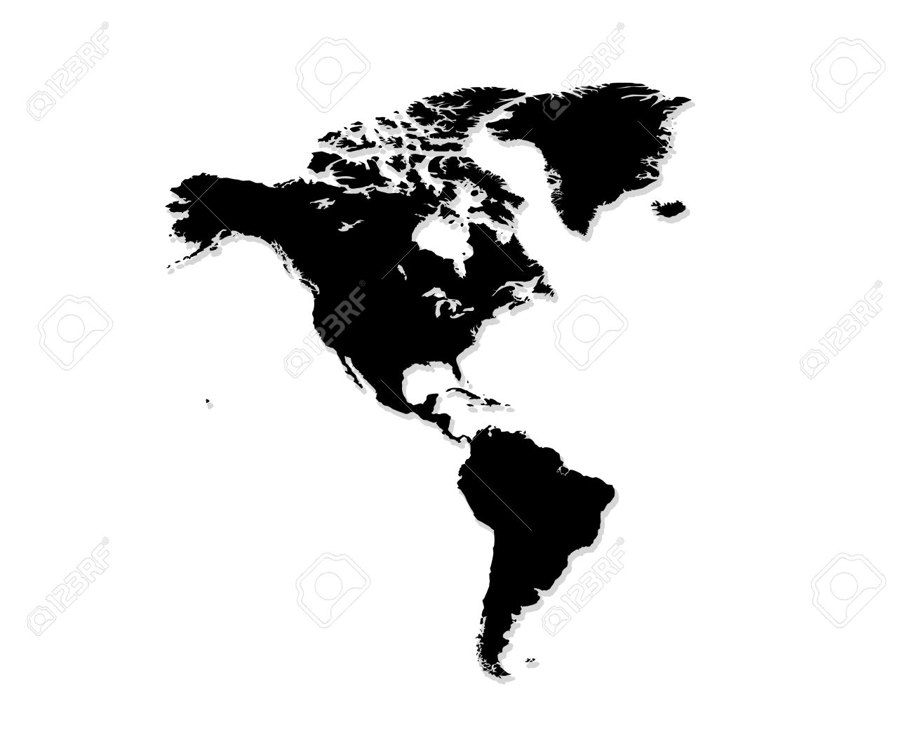 North And South America Map Black And White